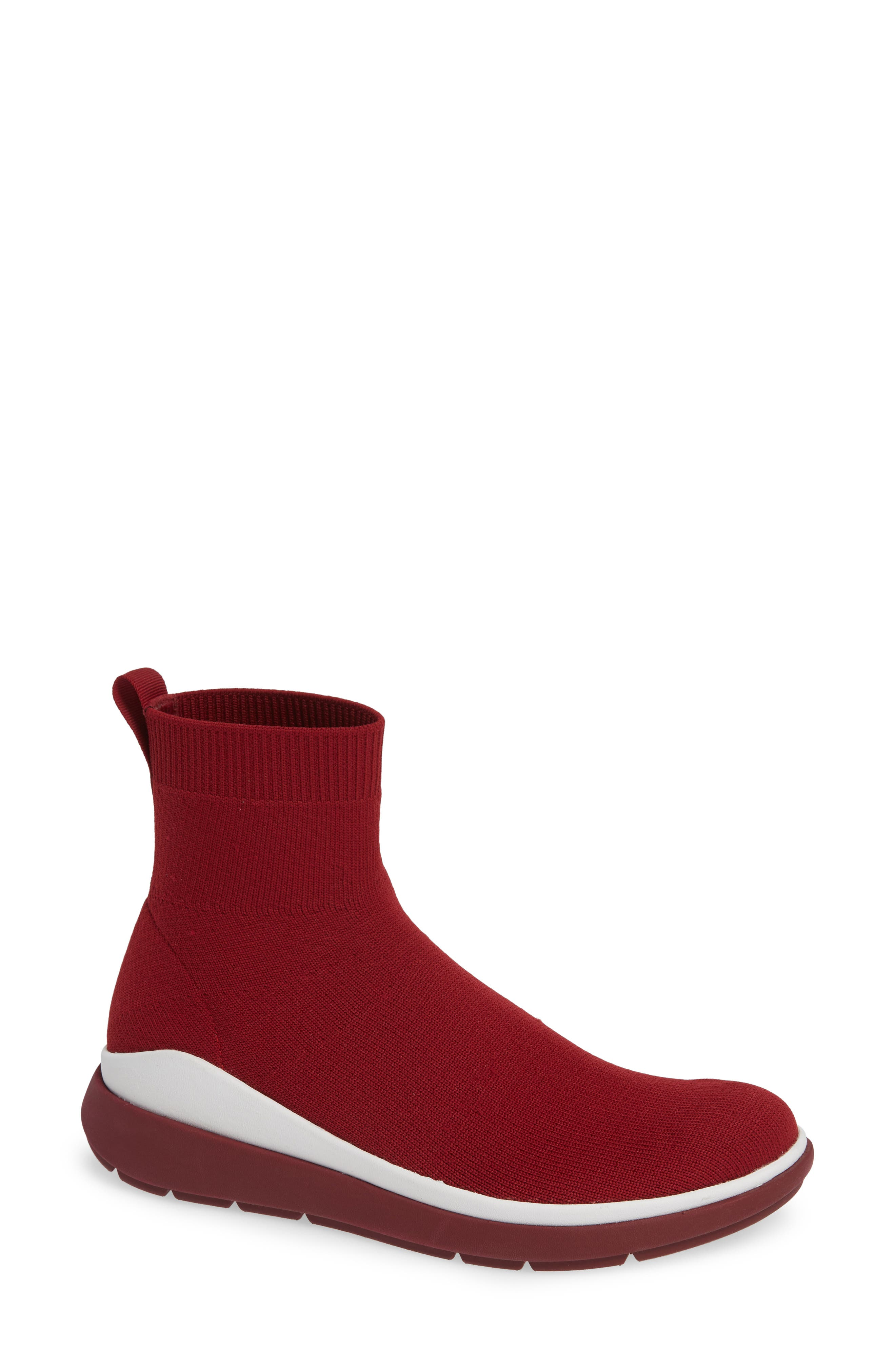 Fitflop Loosh Luxe Rapid Knit Bootie, Burgundy