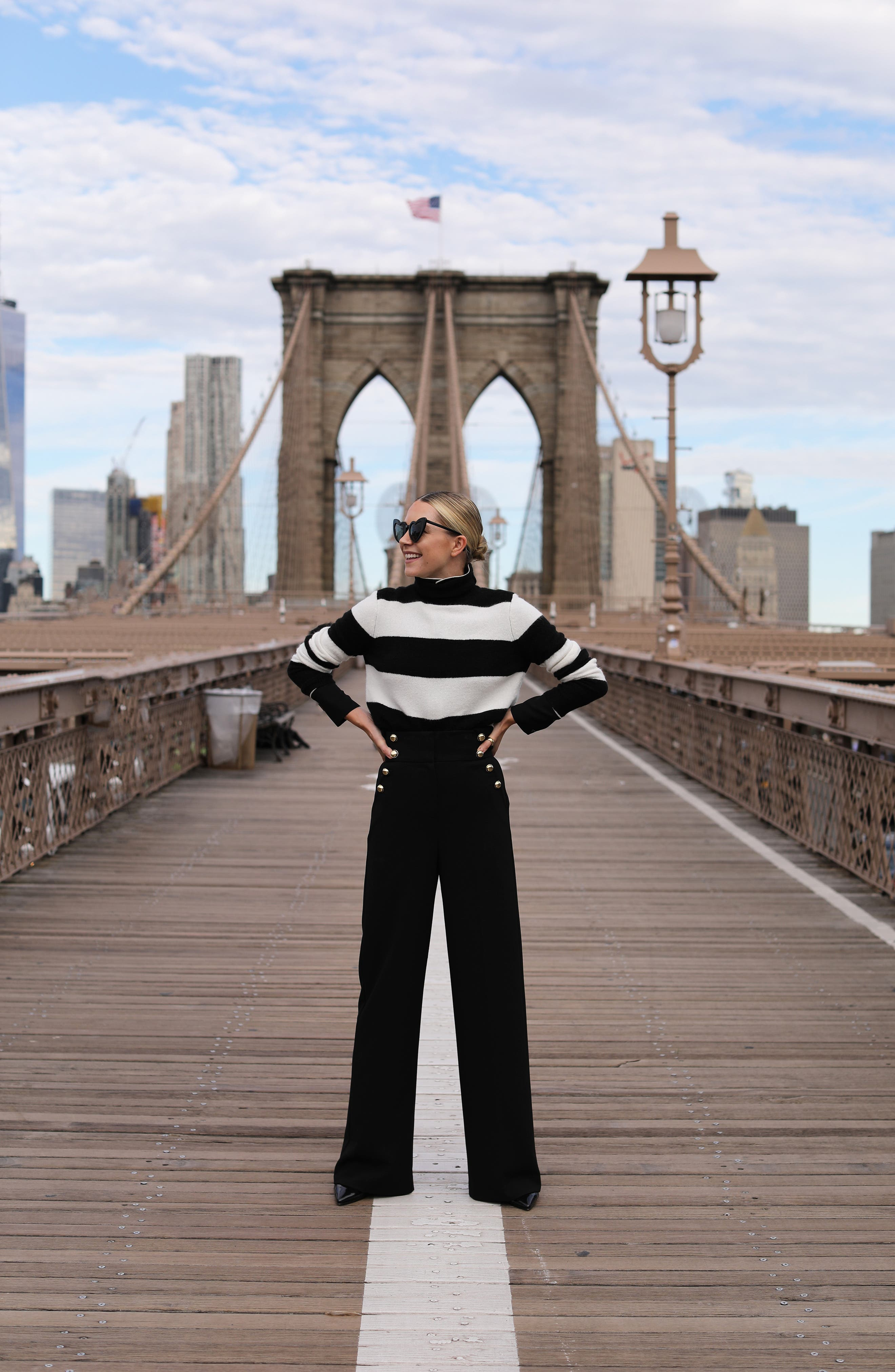 x Atlantic-Pacific Stripe Turtleneck Sweater,                             Alternate thumbnail 8, color,                             BLACK- IVORY STRIPE