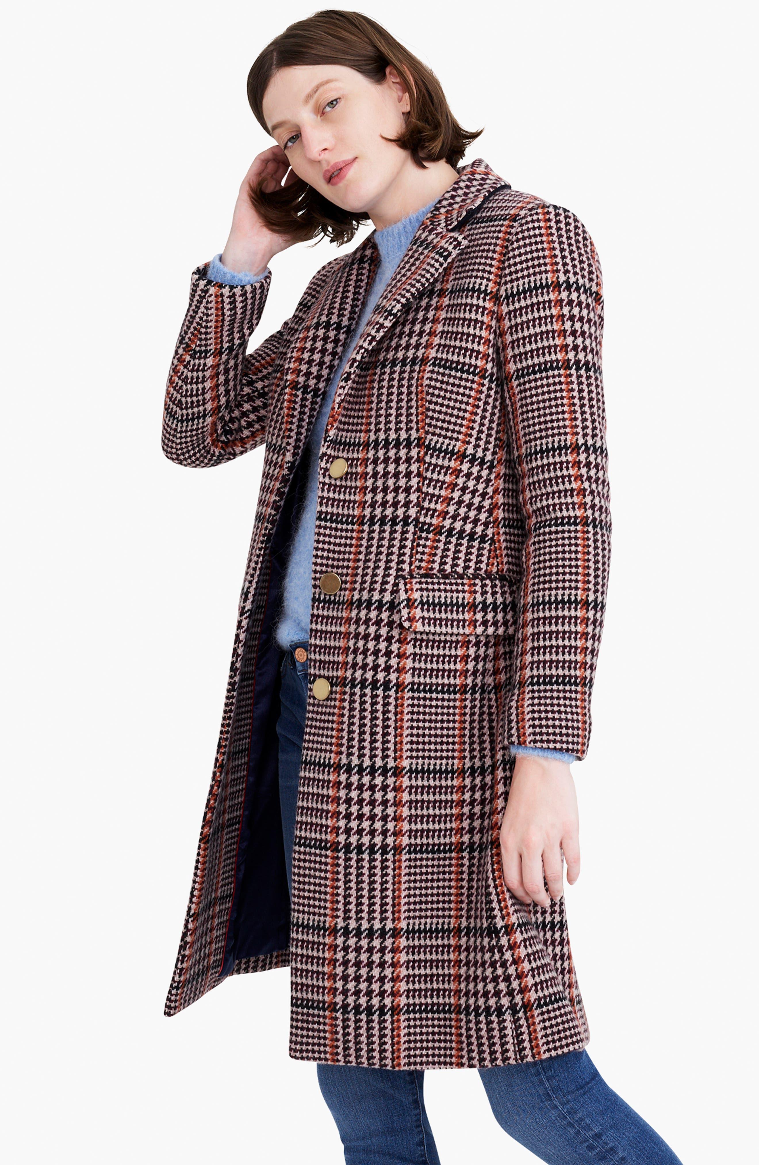Plaid Single Breasted Topcoat,                             Alternate thumbnail 10, color,                             CABERNET PLAID