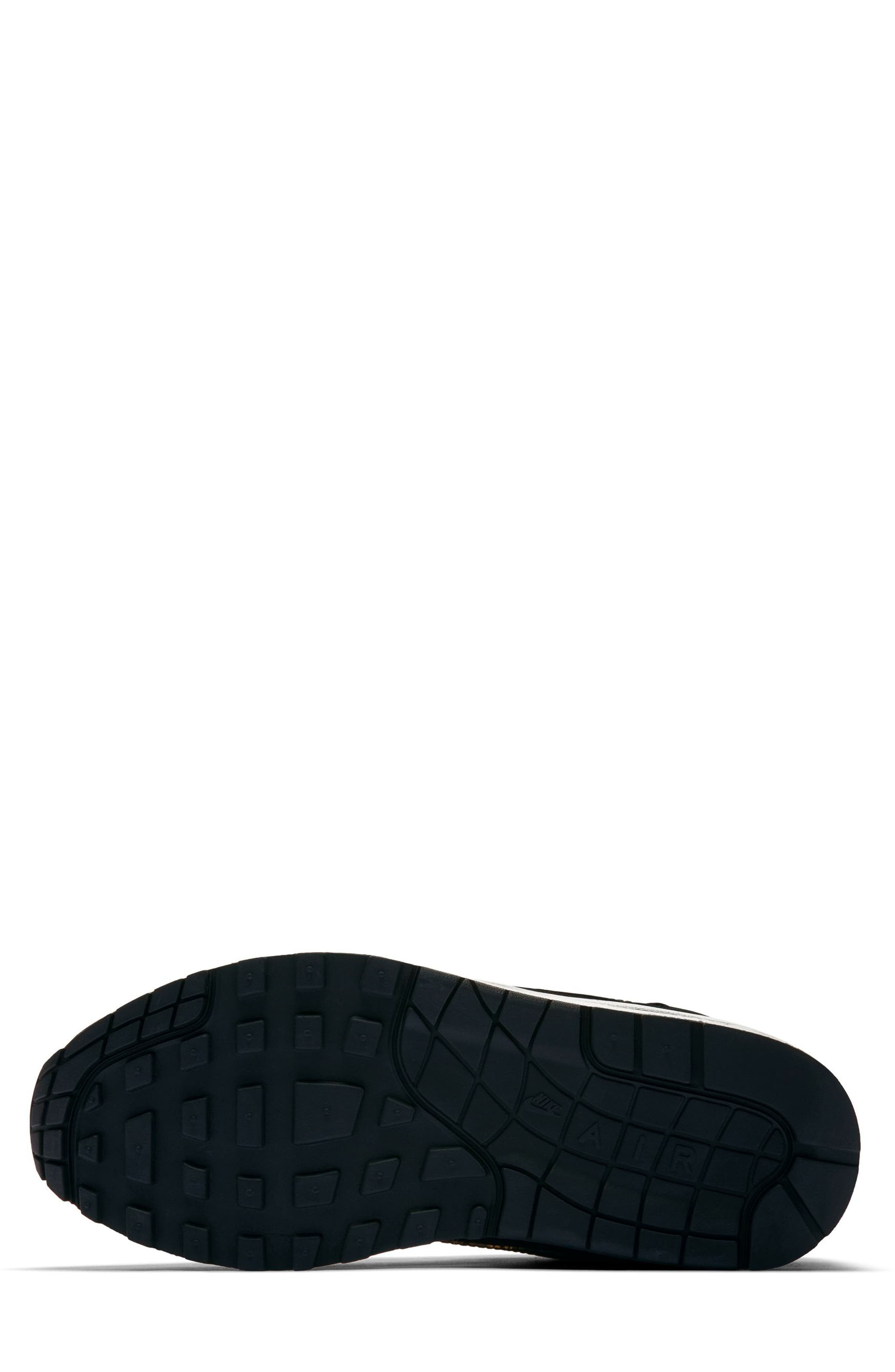 Air Max 1 SE Sneaker,                             Alternate thumbnail 5, color,                             BLACK/ BLACK/ UNIVERSITY RED