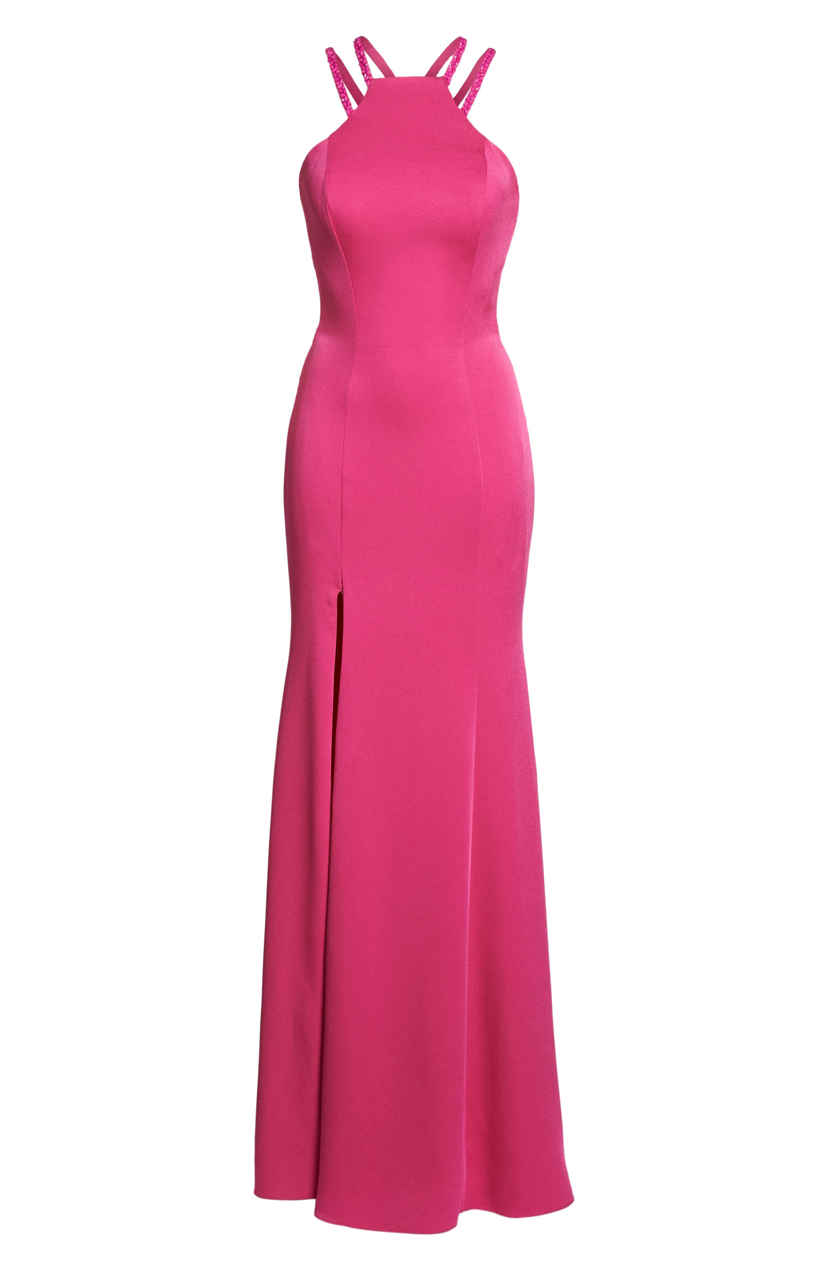 Beaded Strap Satin Gown,                             Alternate thumbnail 12, color,