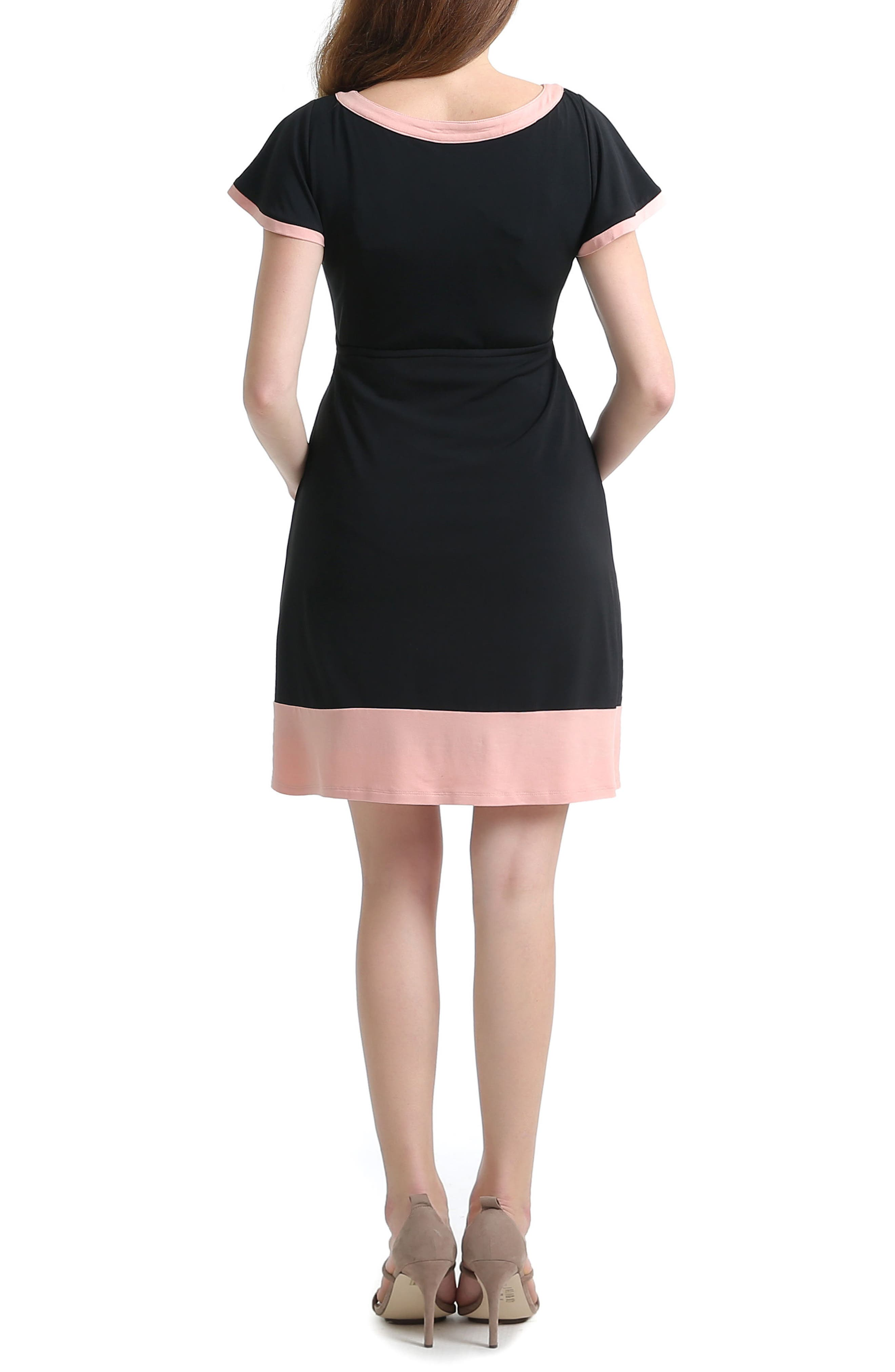 Regan Colorblock Skater Maternity Dress,                             Alternate thumbnail 2, color,                             BLACK