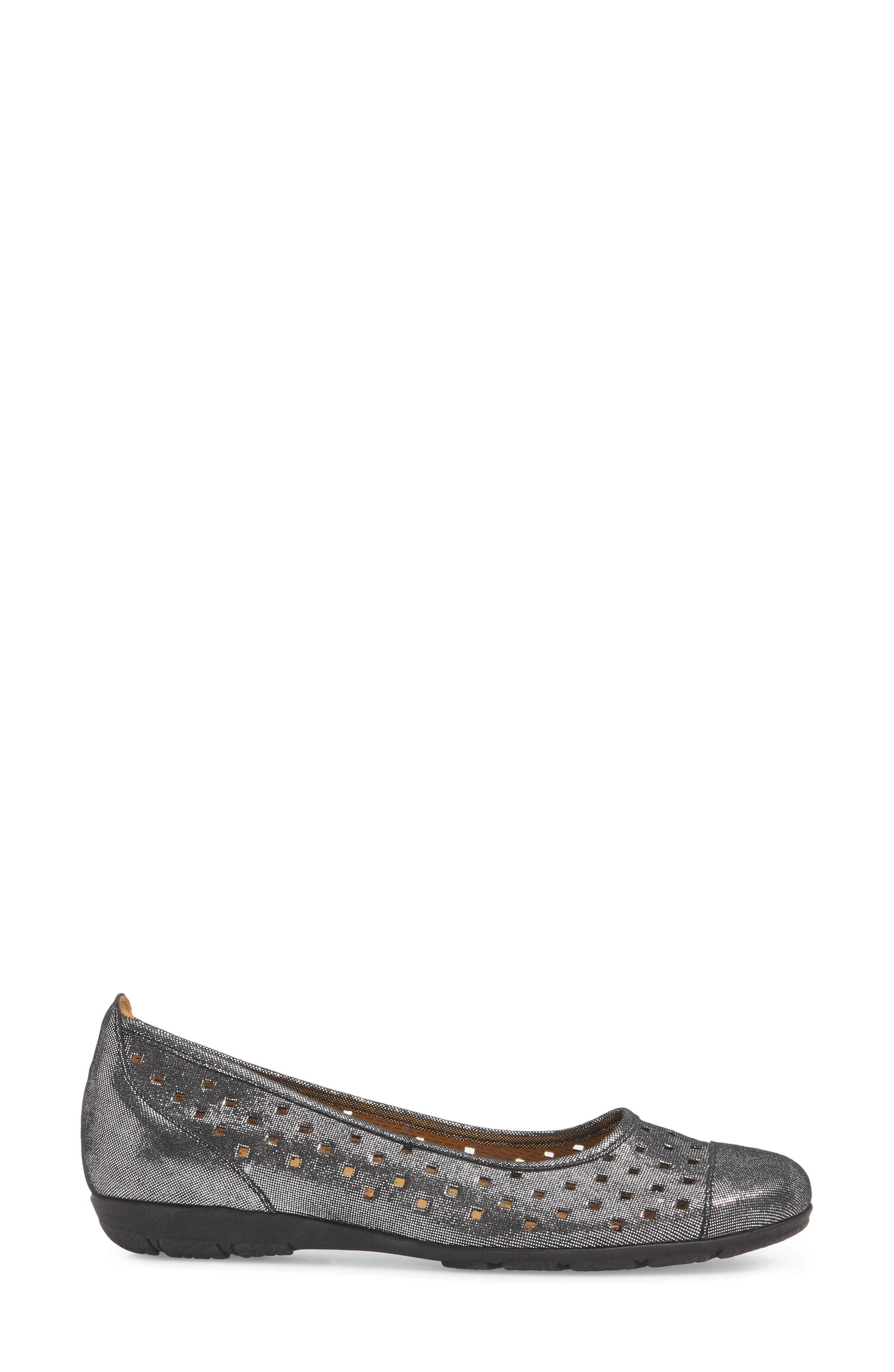 Perforated Ballet Flat,                             Alternate thumbnail 3, color,                             BLACK METALLIC LEATHER