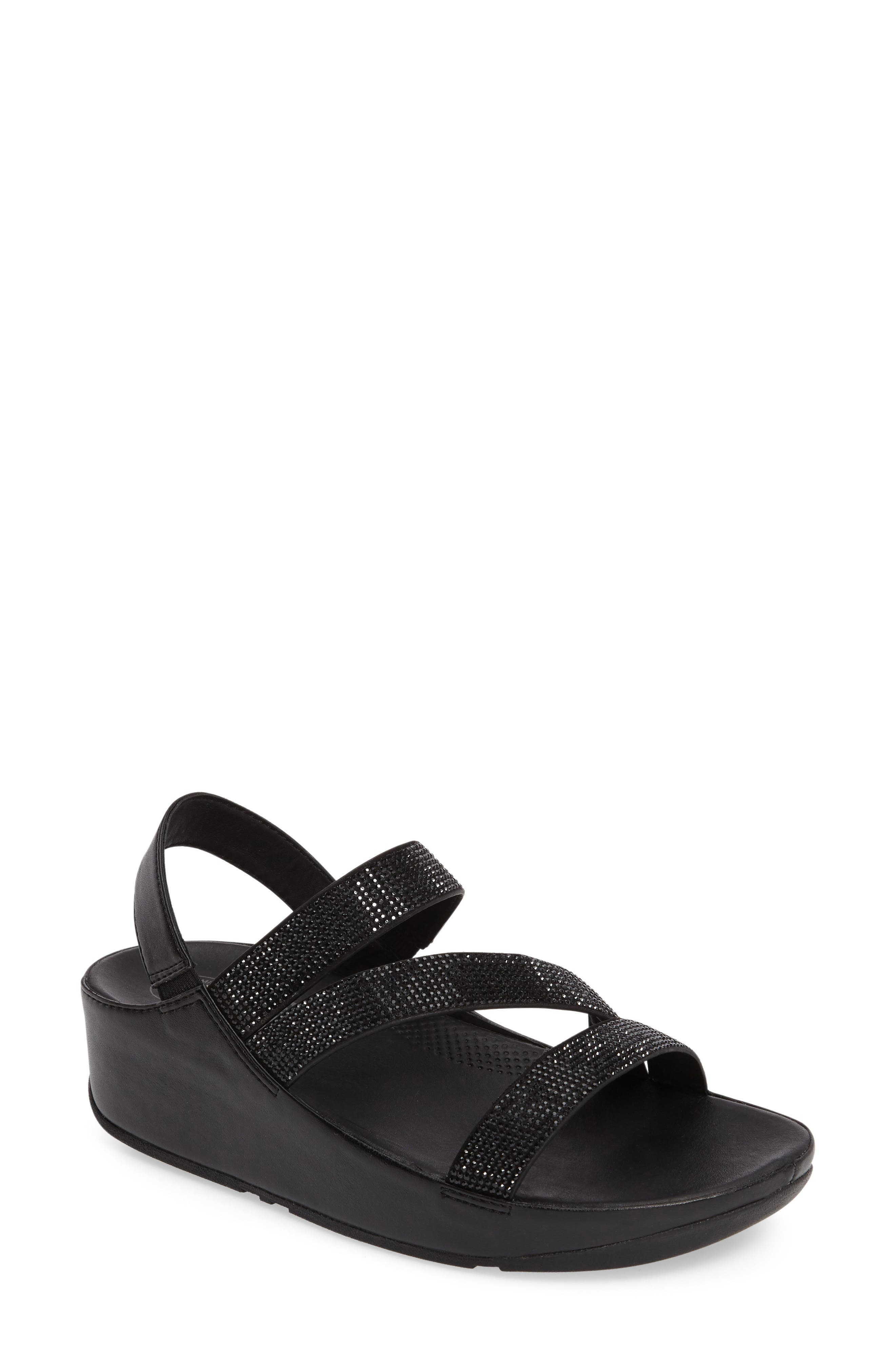 FITFLOP  Crystall Wedge Sandal, Main, color, 001