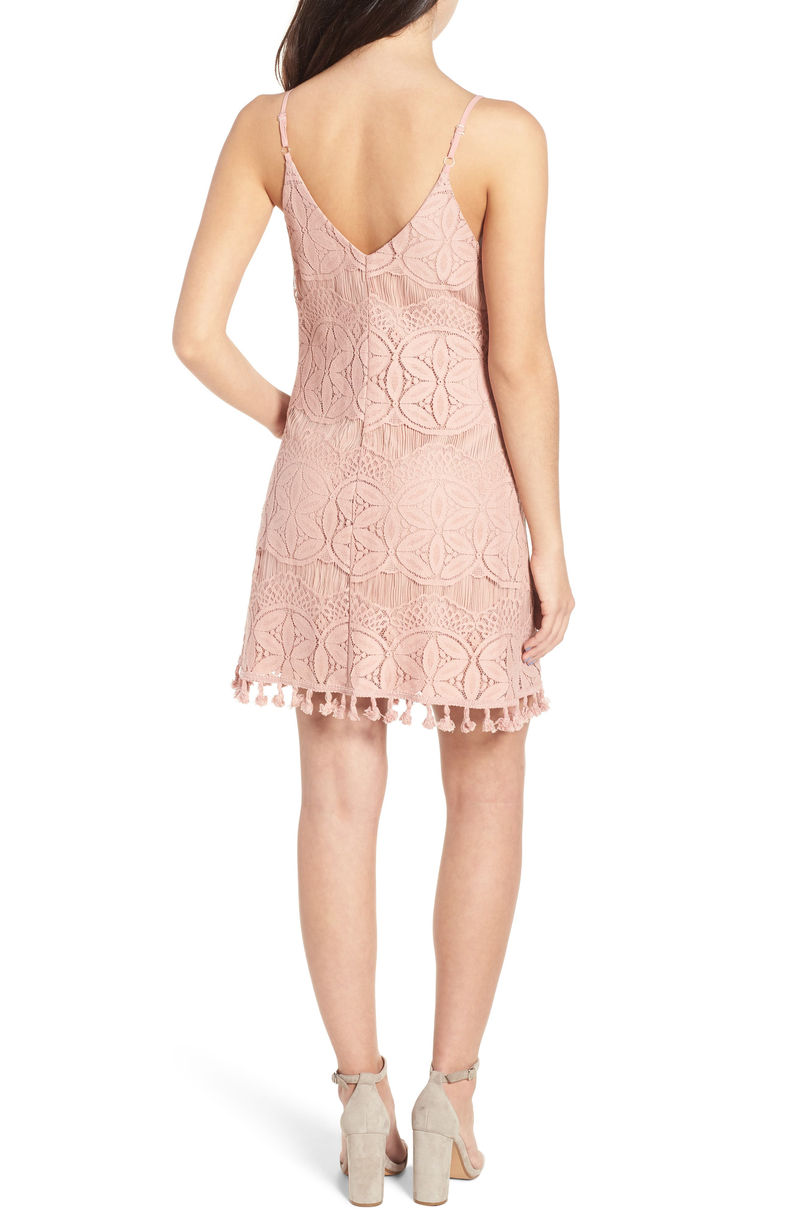 Pom Trim Lace Minidress,                             Alternate thumbnail 2, color,                             659