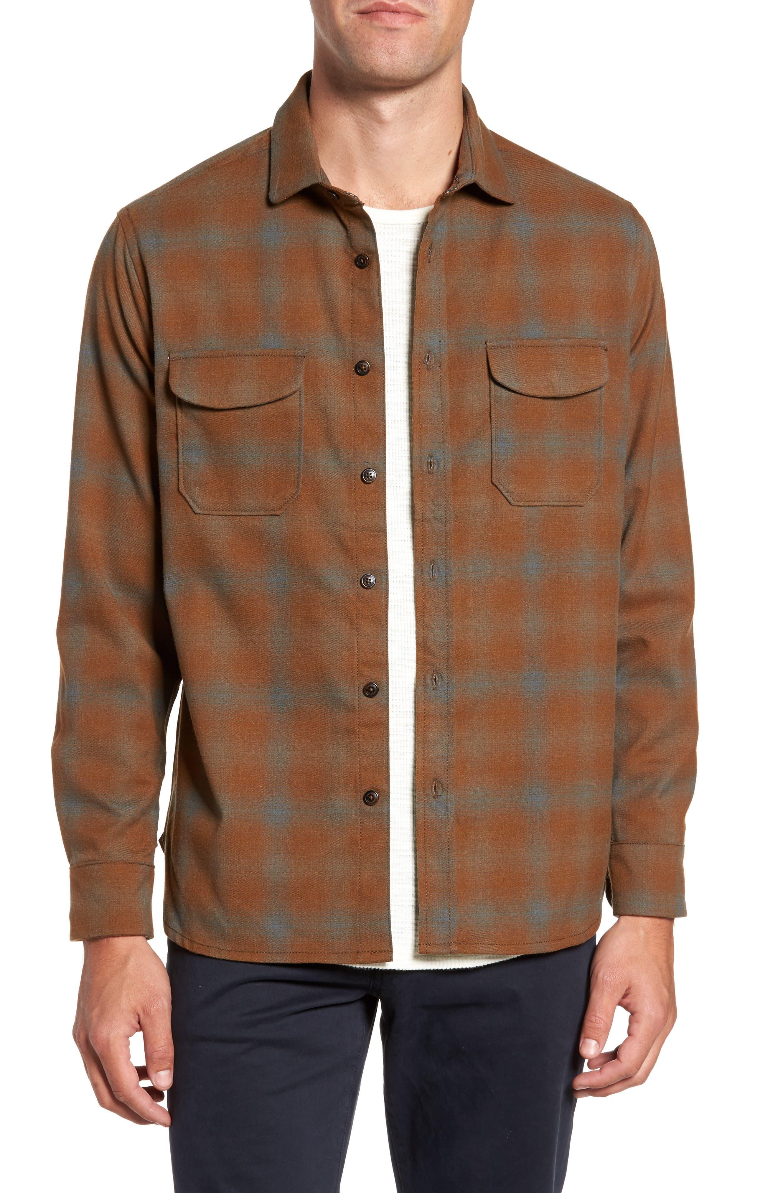 Peak Flannel Sport Shirt, Main, color, 215