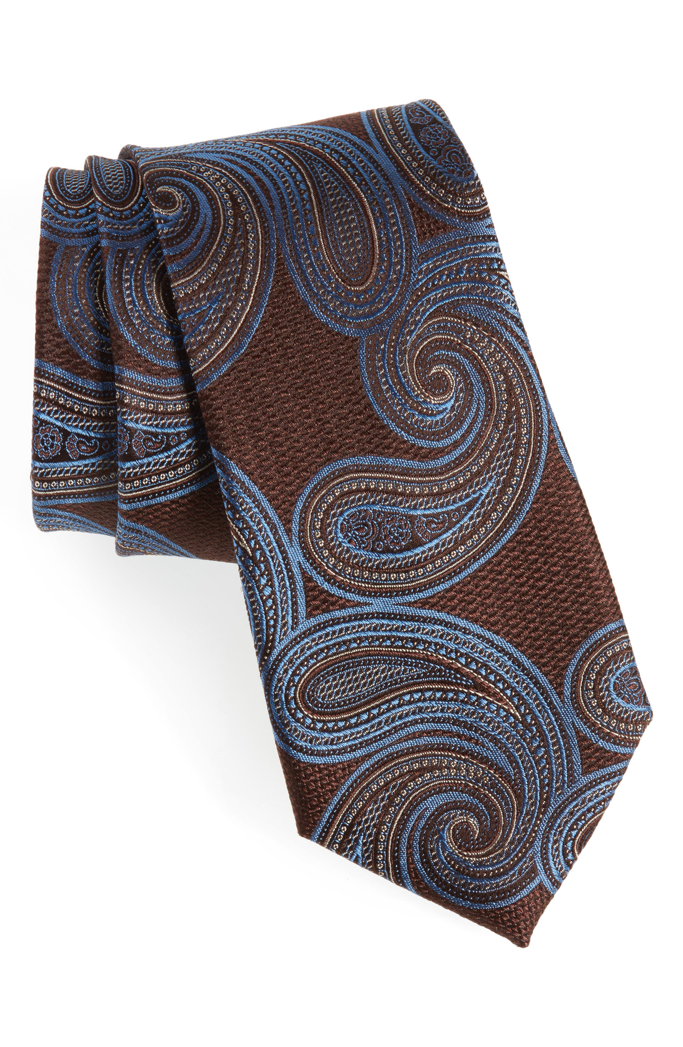 Sardonia Paisley Silk Tie,                             Main thumbnail 1, color,                             BROWN