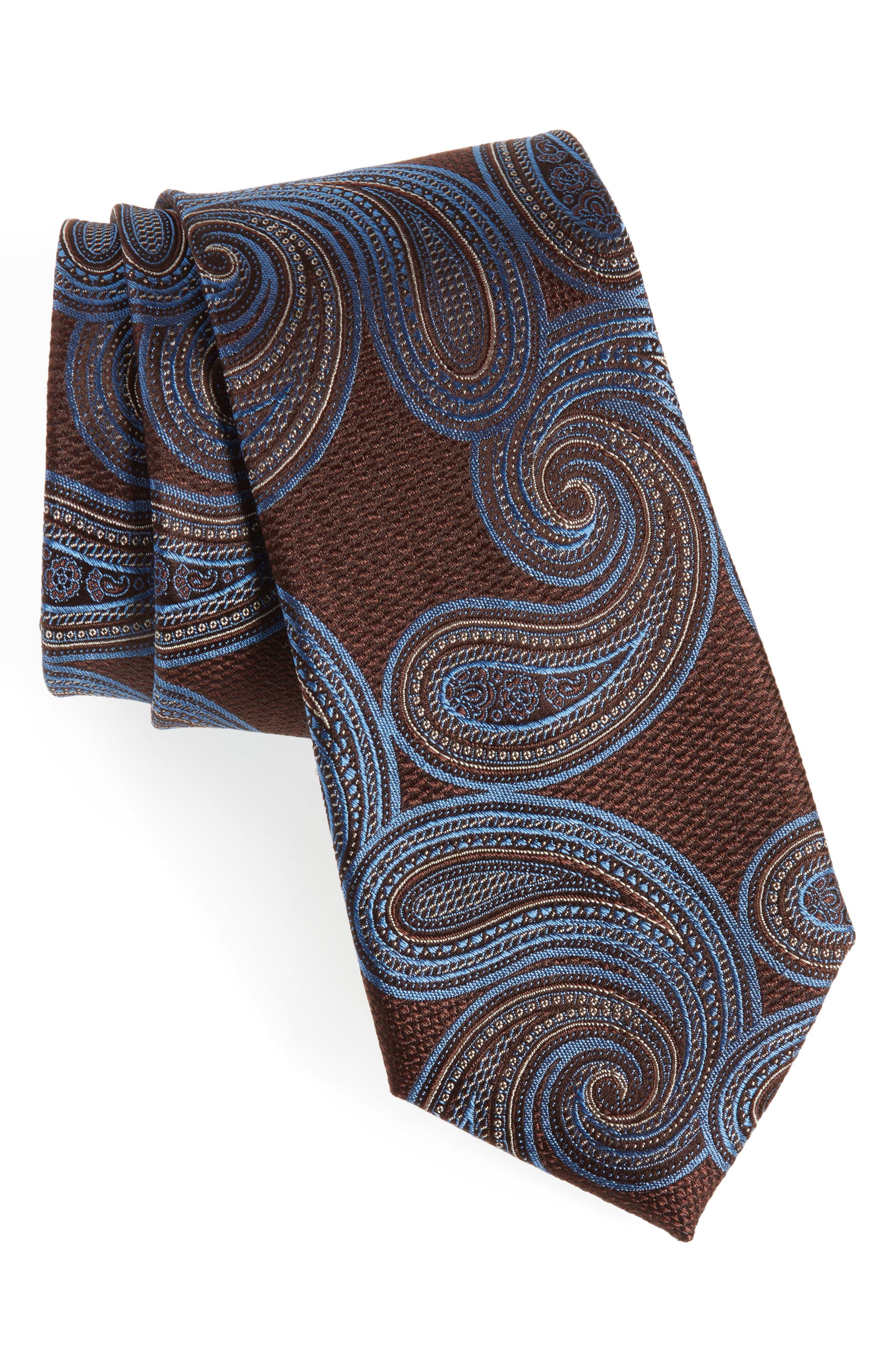 Sardonia Paisley Silk Tie,                         Main,                         color, BROWN