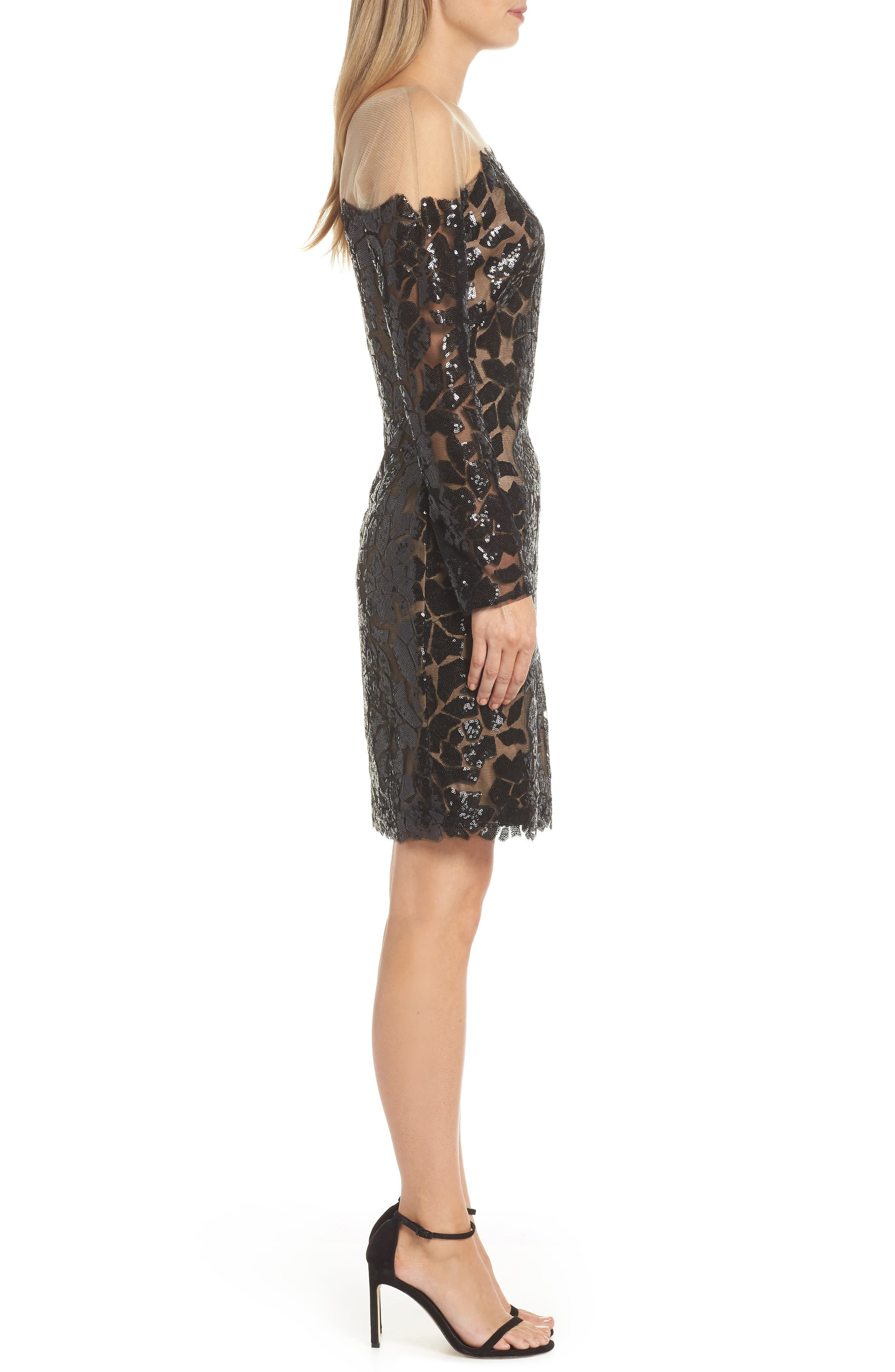 Sequin Illusion Body-Con Dress,                             Alternate thumbnail 3, color,                             BLACK/ NUDE