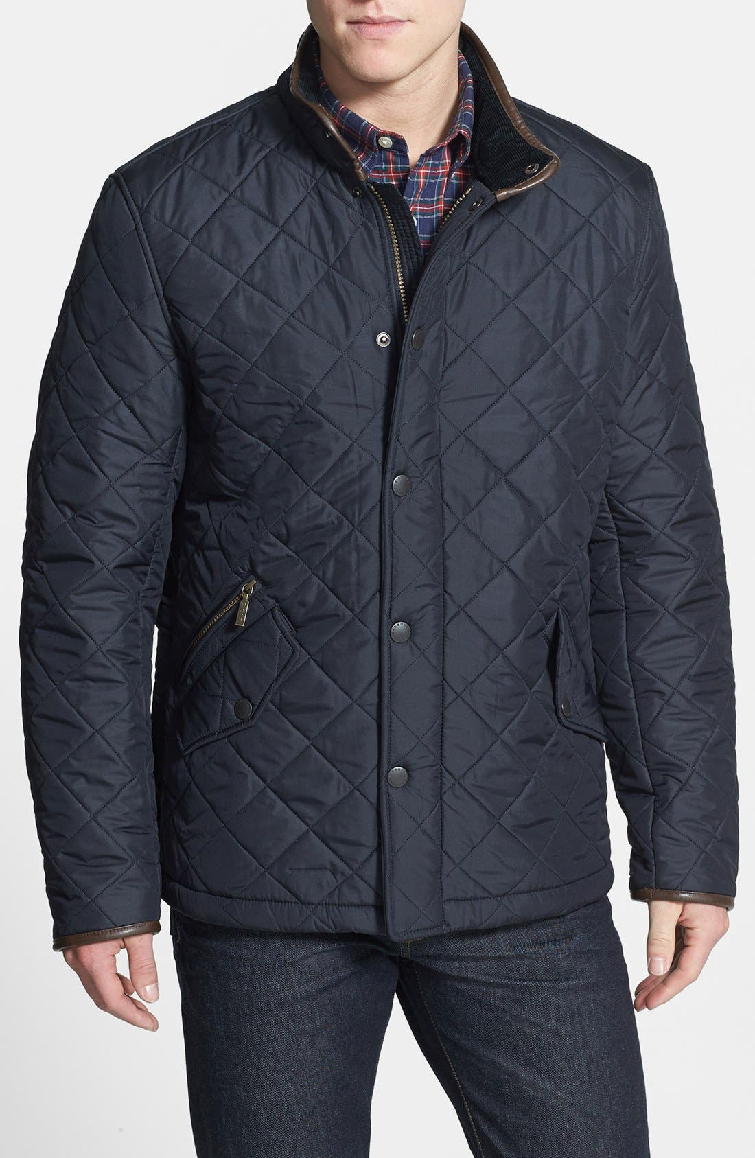 'Powell' Quilted Jacket,                         Main,                         color, NAVY