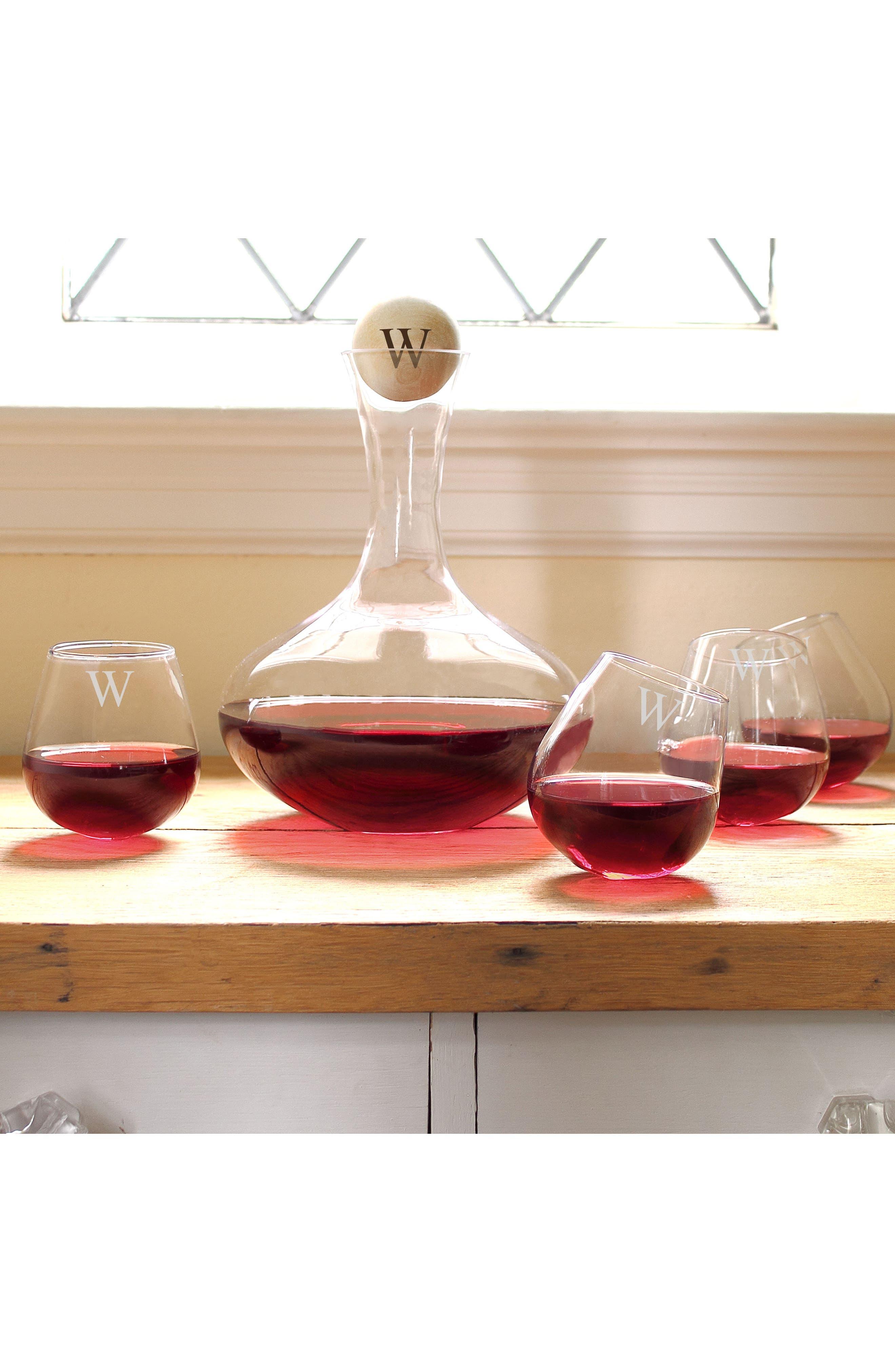 'Tipsy' Monogram Wine Decanter & Stemless Glasses,                             Alternate thumbnail 2, color,                             BLANK