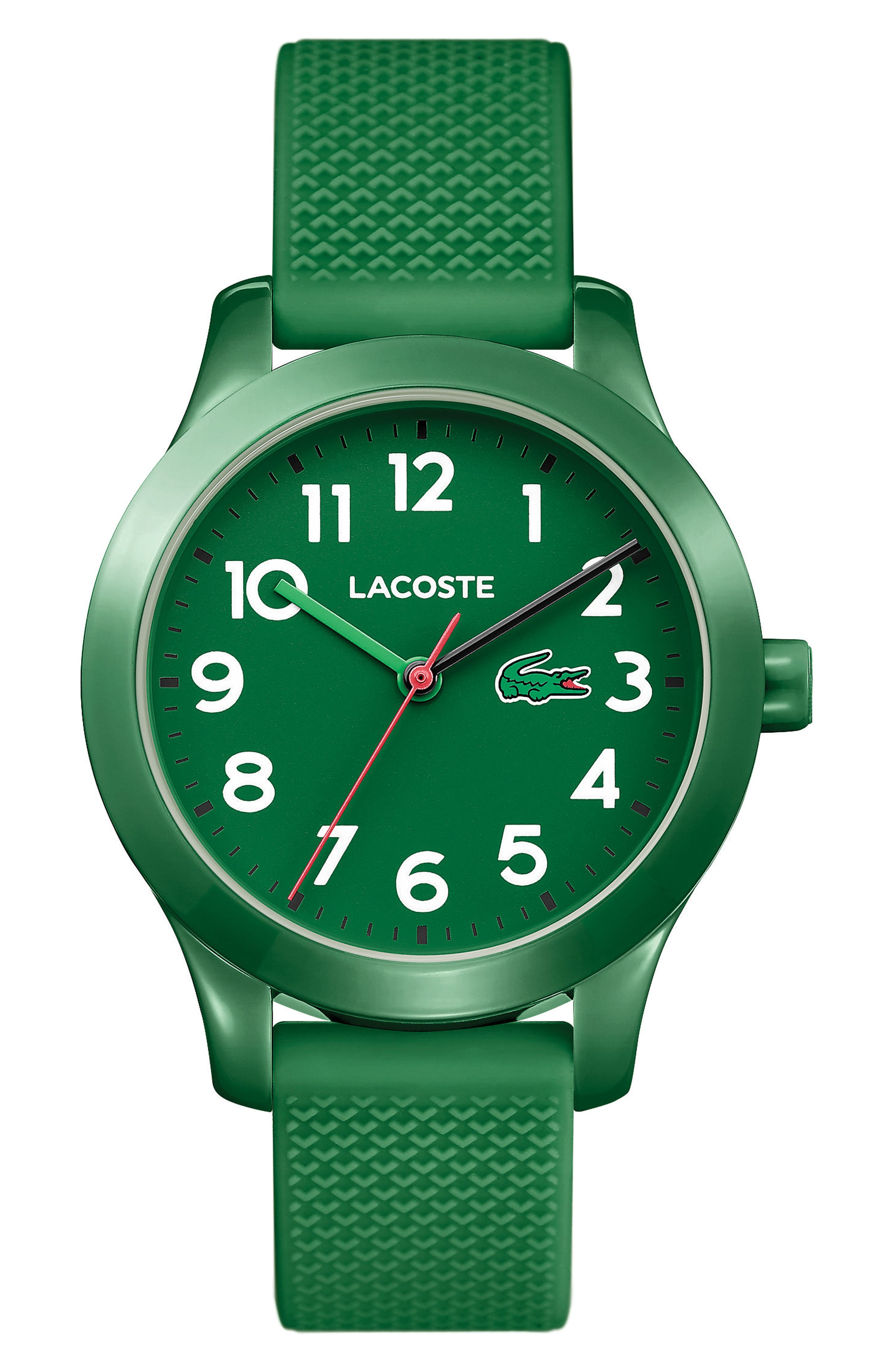 LACOSTE Kids 12.12 Silicone Strap Watch, 32mm, Main, color, GREEN