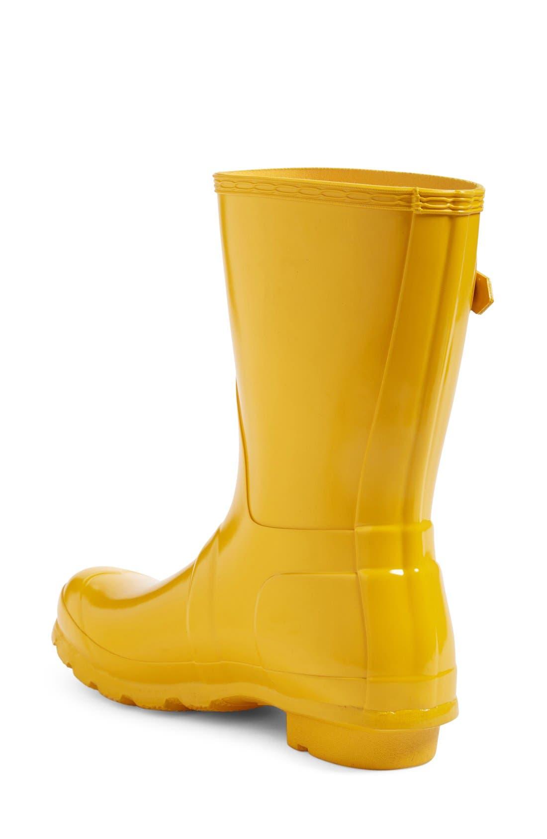 Hunter Original Short Gloss Waterproof Rain Boot, Yellow