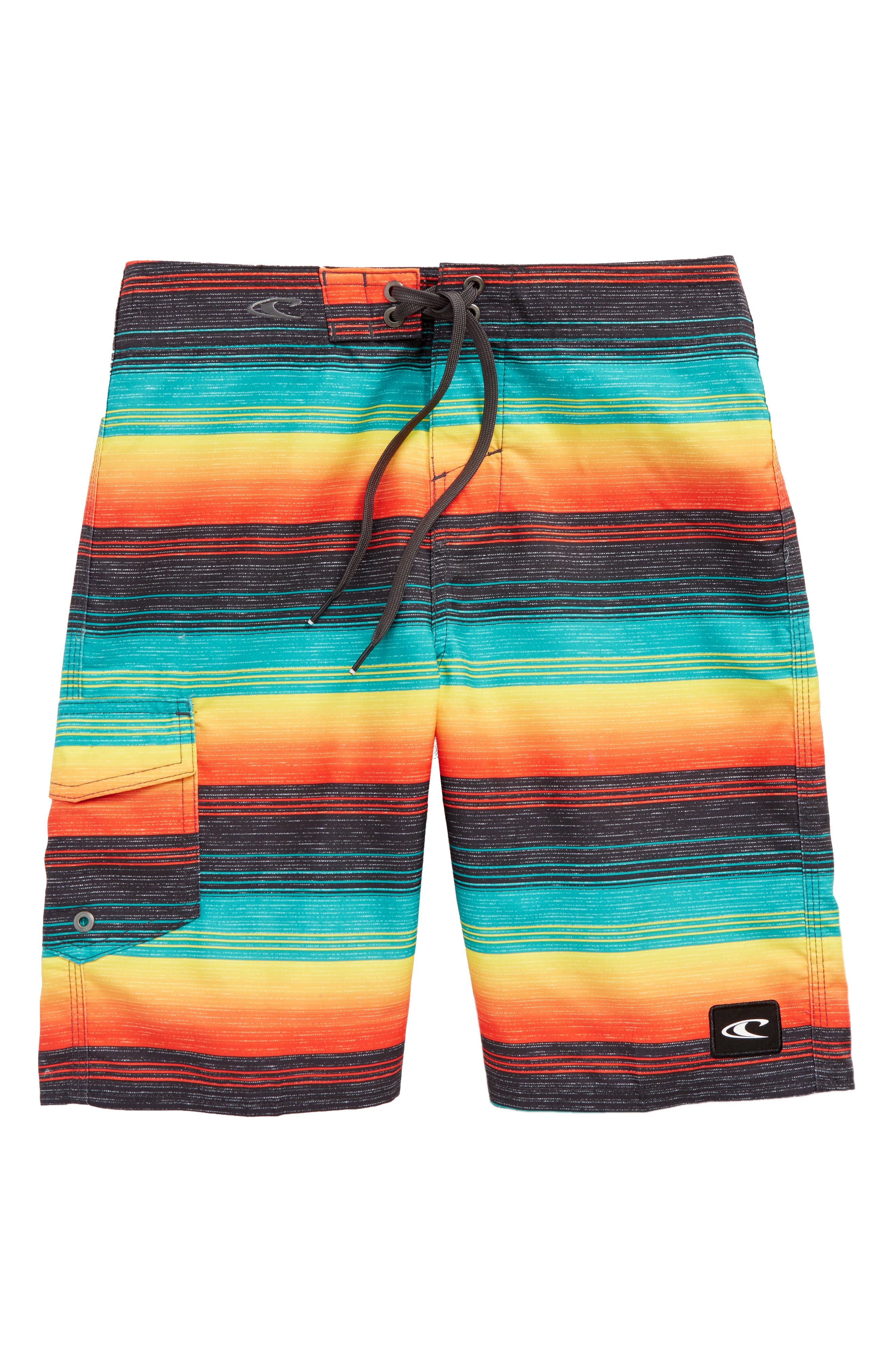 O'NEILL,                             Santa Cruz Stripe Board Shorts,                             Main thumbnail 1, color,                             001