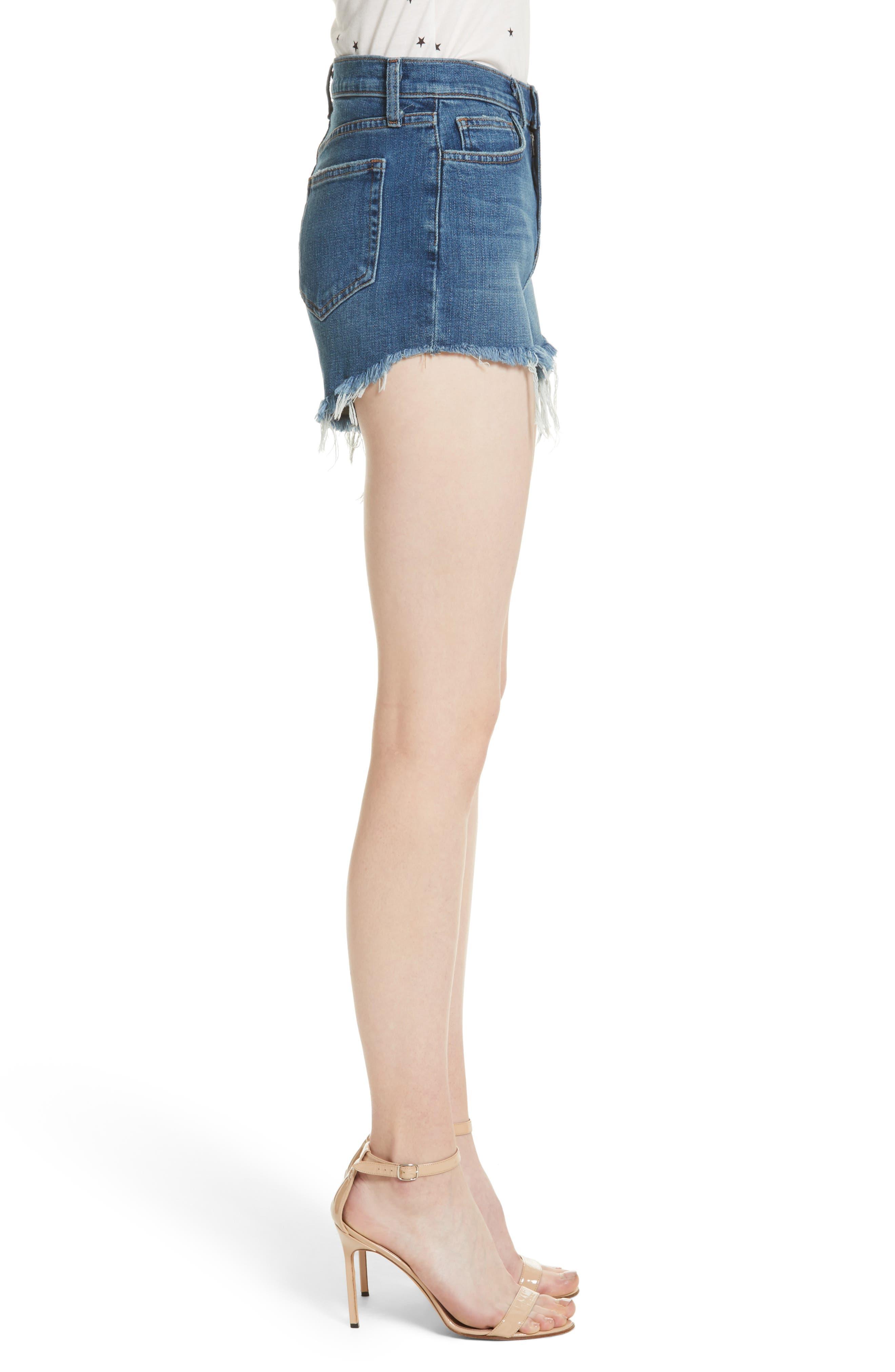 Ryland High Waist Denim Shorts,                             Alternate thumbnail 3, color,                             AUTHENTIQUE