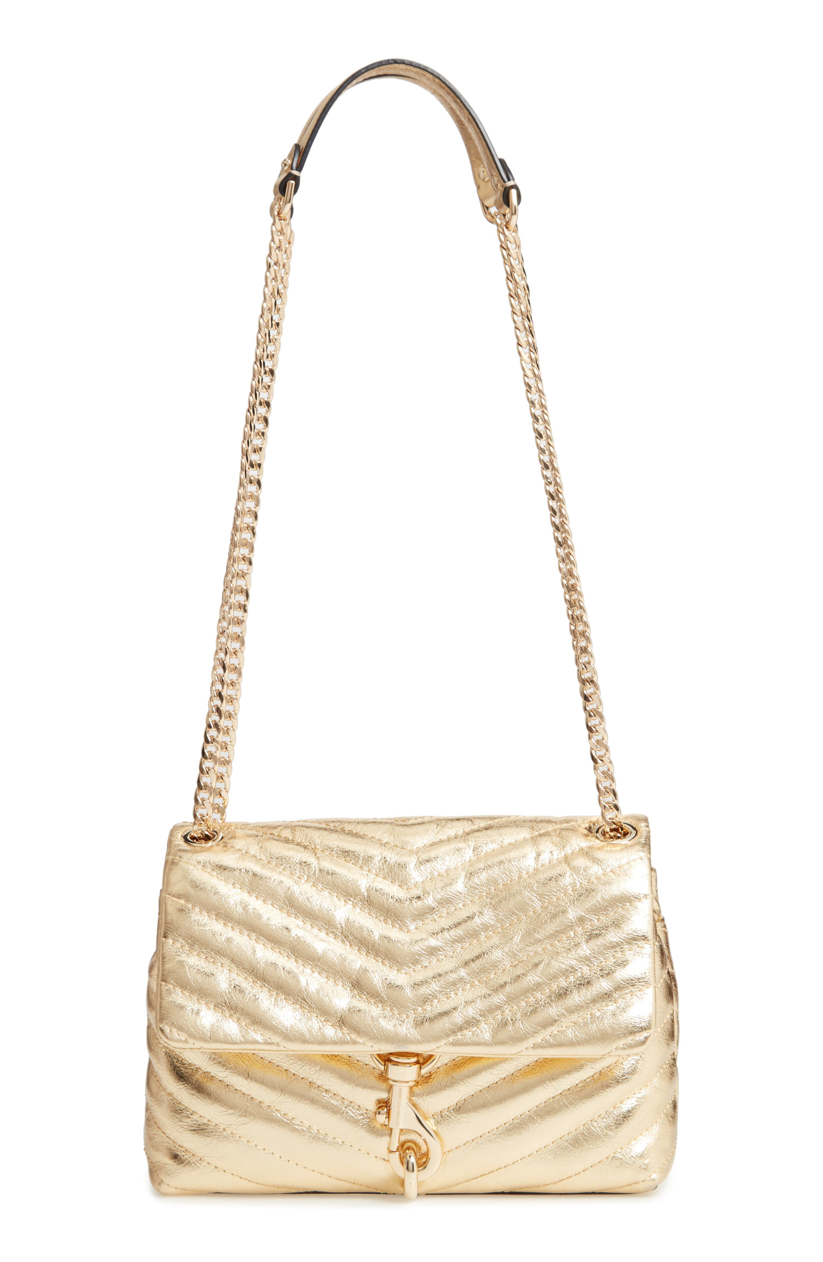 Edie Metallic Leather Shoulder Bag,                         Main,                         color, GOLD