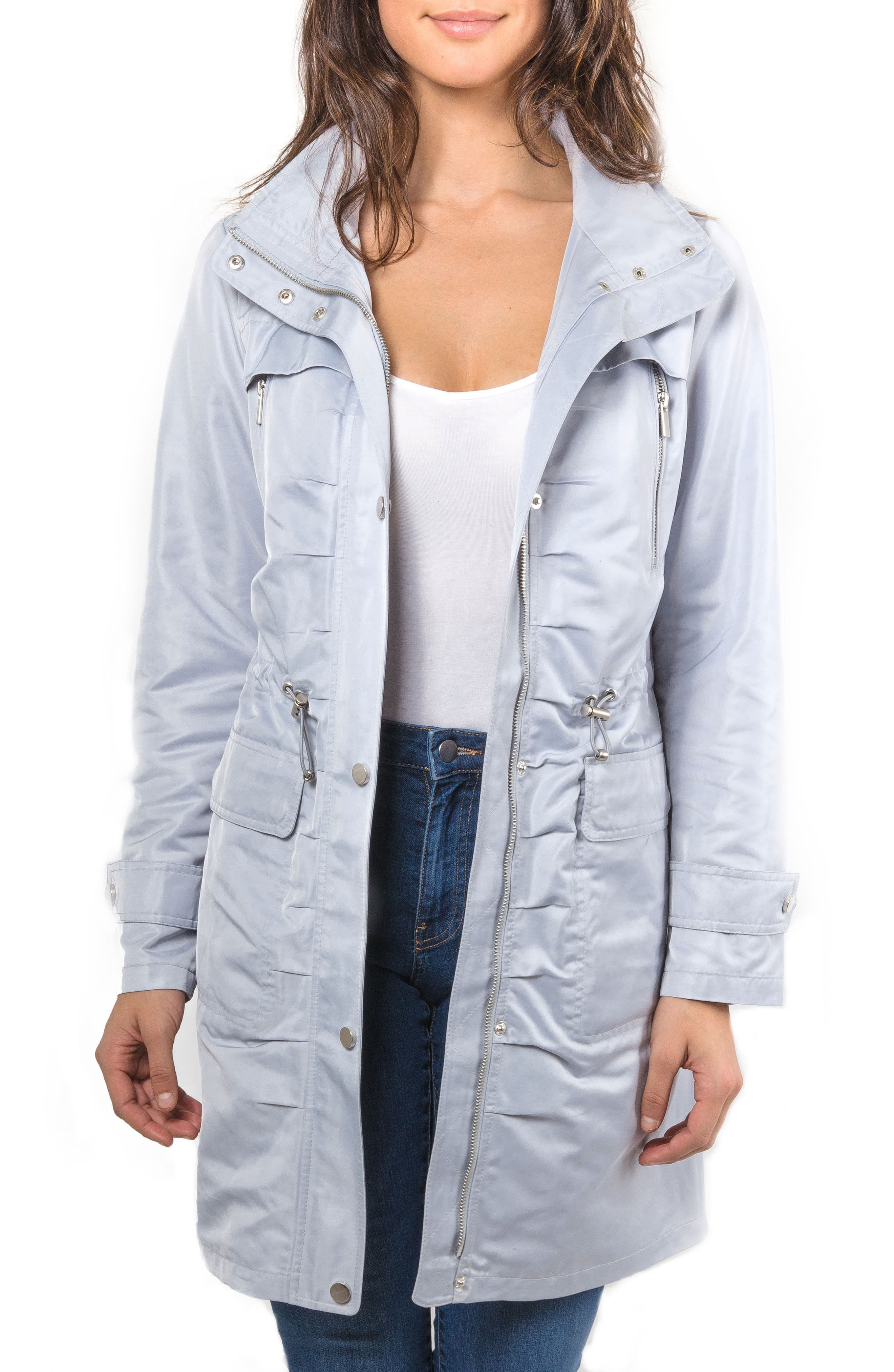 Badgley Mischka Ruched Water Repellent Anorak,                             Main thumbnail 1, color,                             457
