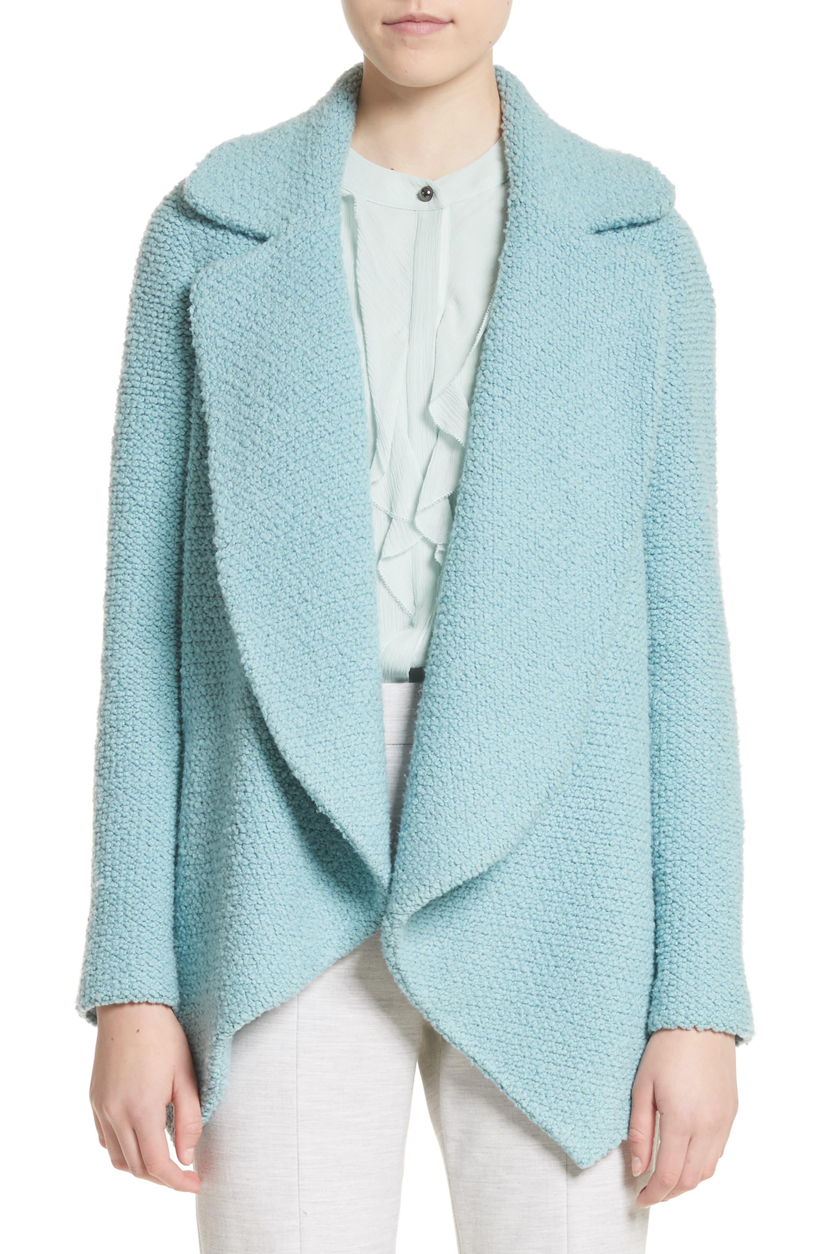 Plush Bouclé Wool & Silk Cardigan,                             Main thumbnail 1, color,