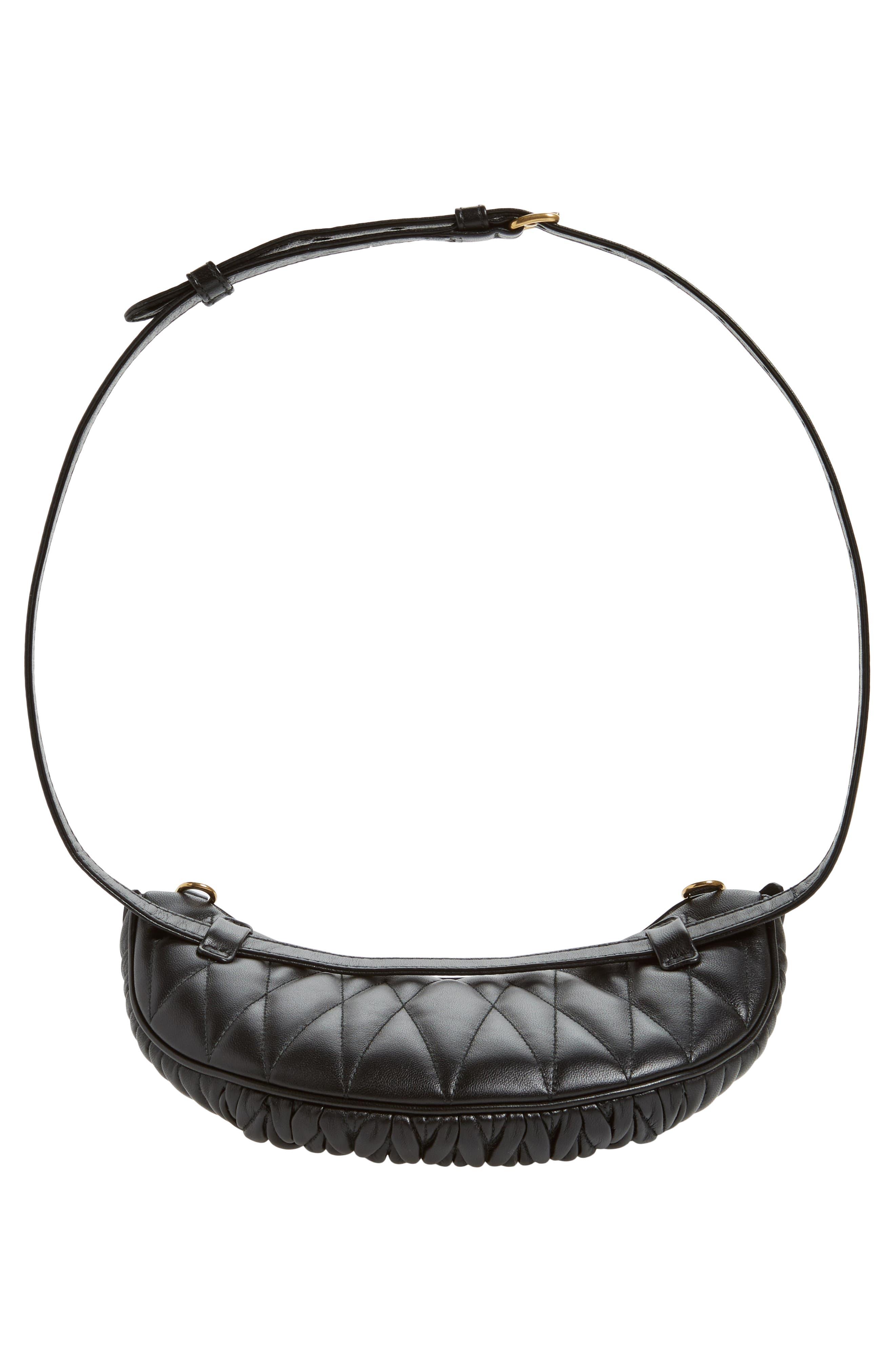 Matelassé Lambskin Leather Belt Bag,                             Alternate thumbnail 8, color,                             NERO