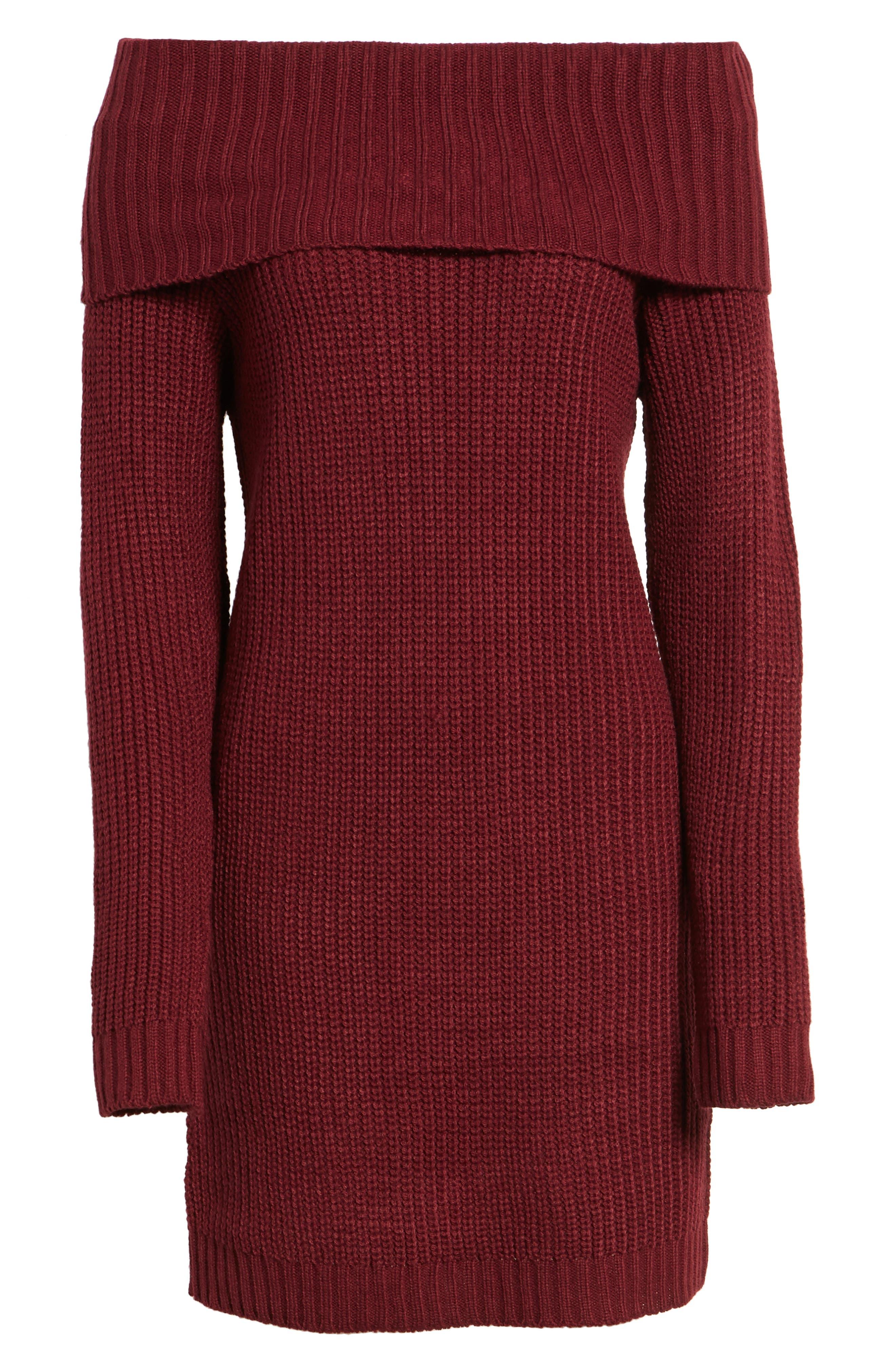Foldover Off the Shoulder Sweater Dress,                             Alternate thumbnail 24, color,