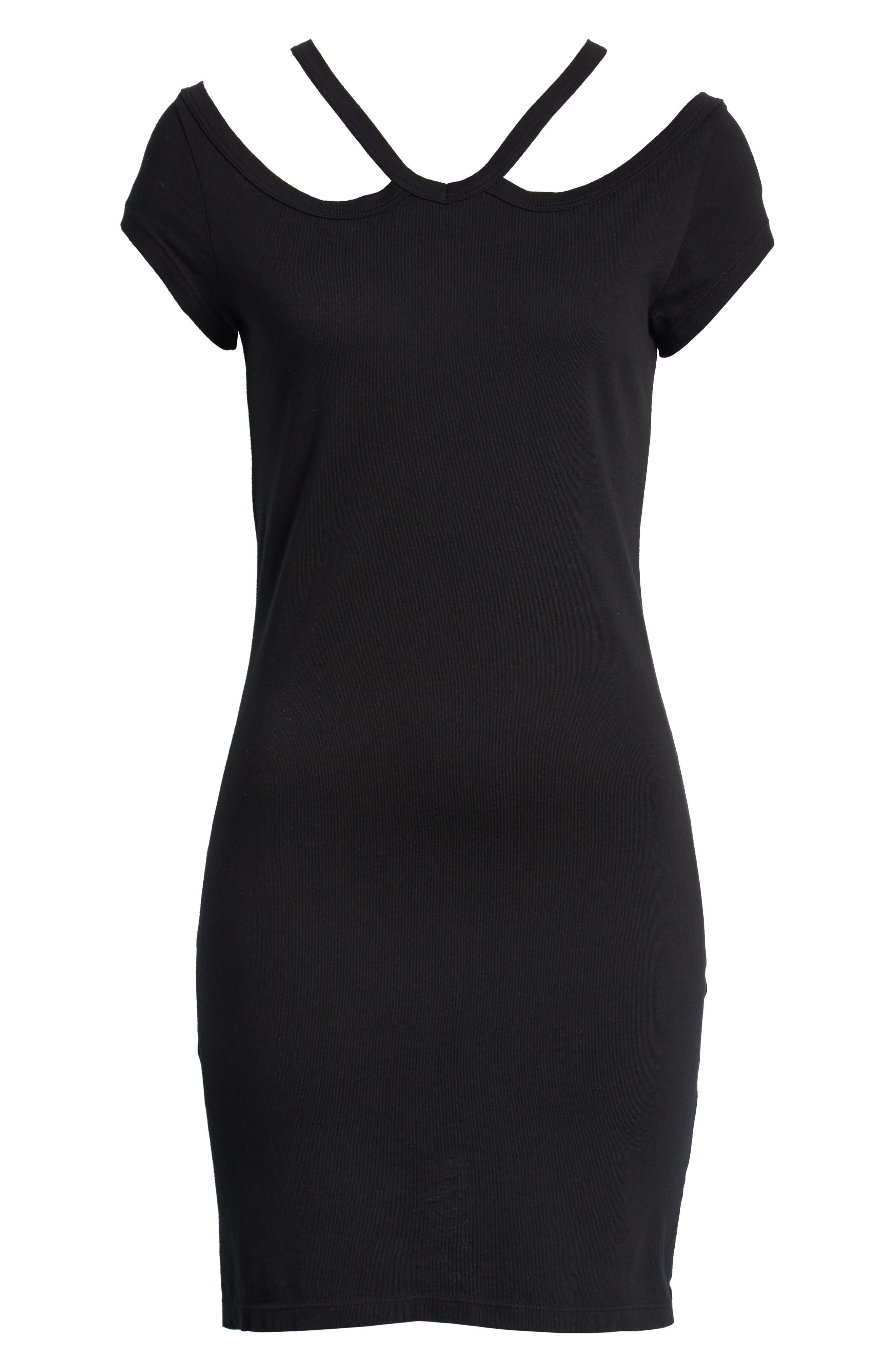 Cold Shoulder Dress,                             Alternate thumbnail 6, color,                             BLACK