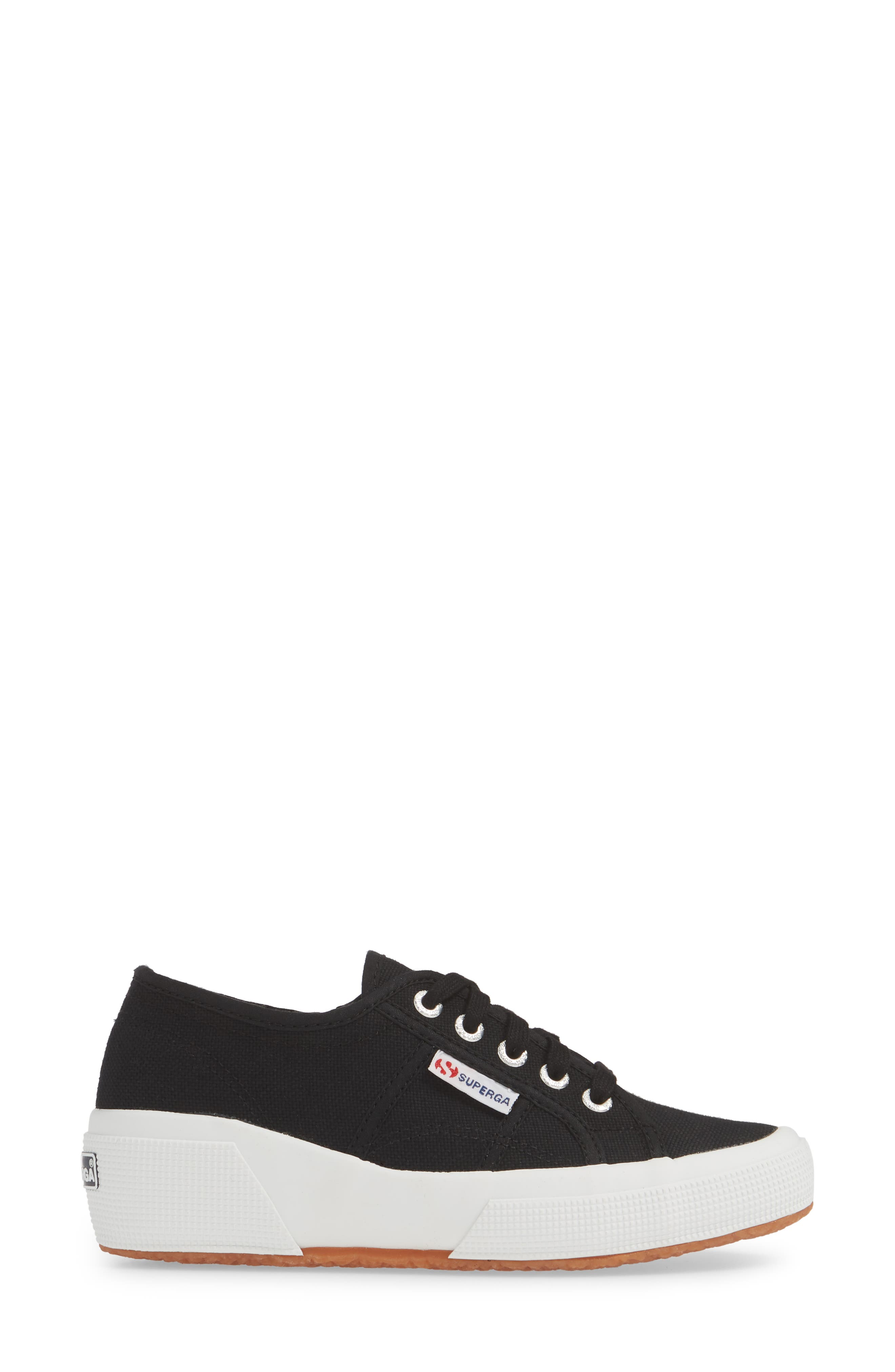 SUPERGA,                             'Linea' Wedge Sneaker,                             Alternate thumbnail 3, color,                             BLACK / WHITE
