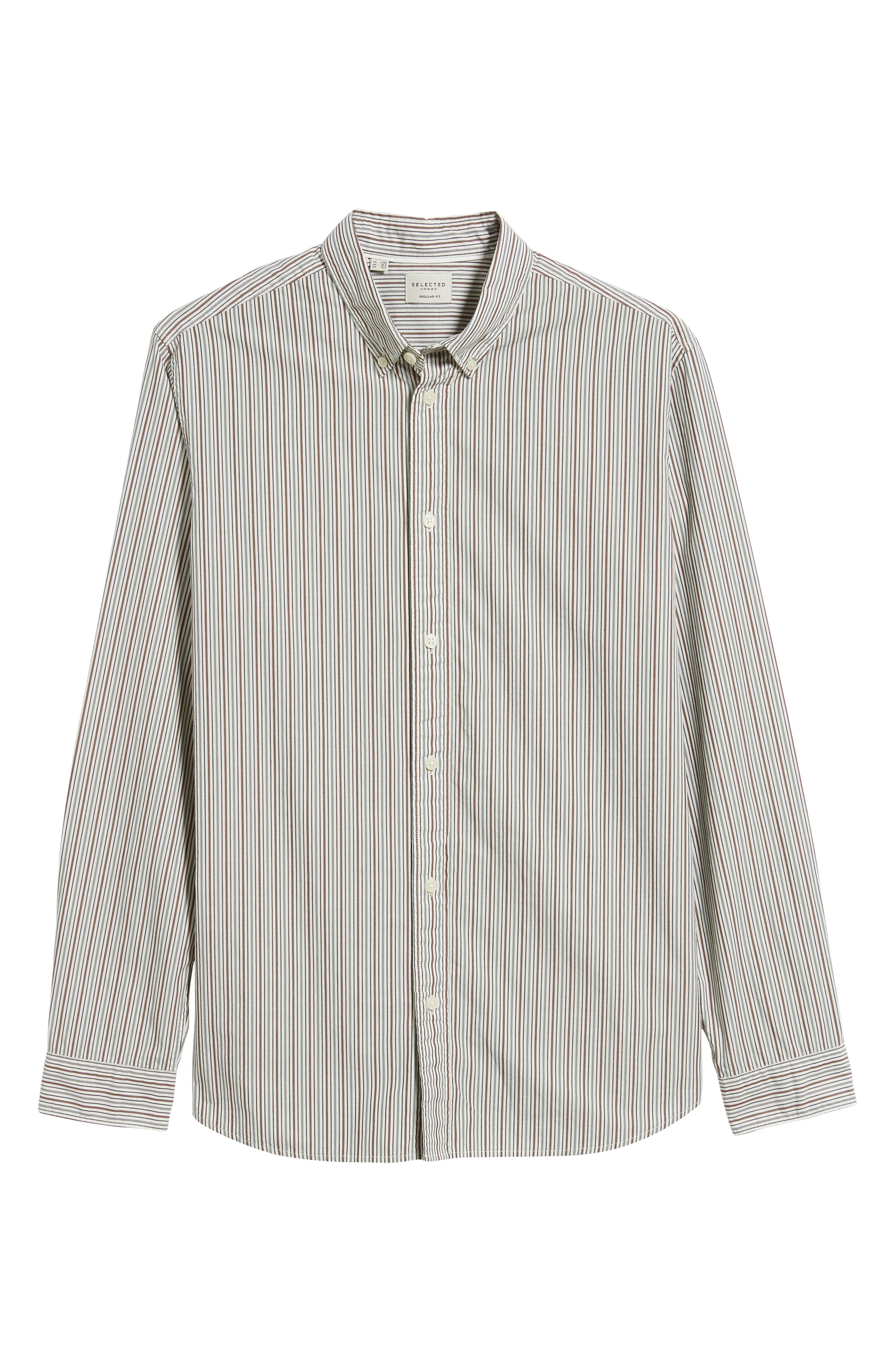 Carlo Regular Fit Stripe Sport Shirt,                             Alternate thumbnail 5, color,                             QUIET SHADE STRIPES