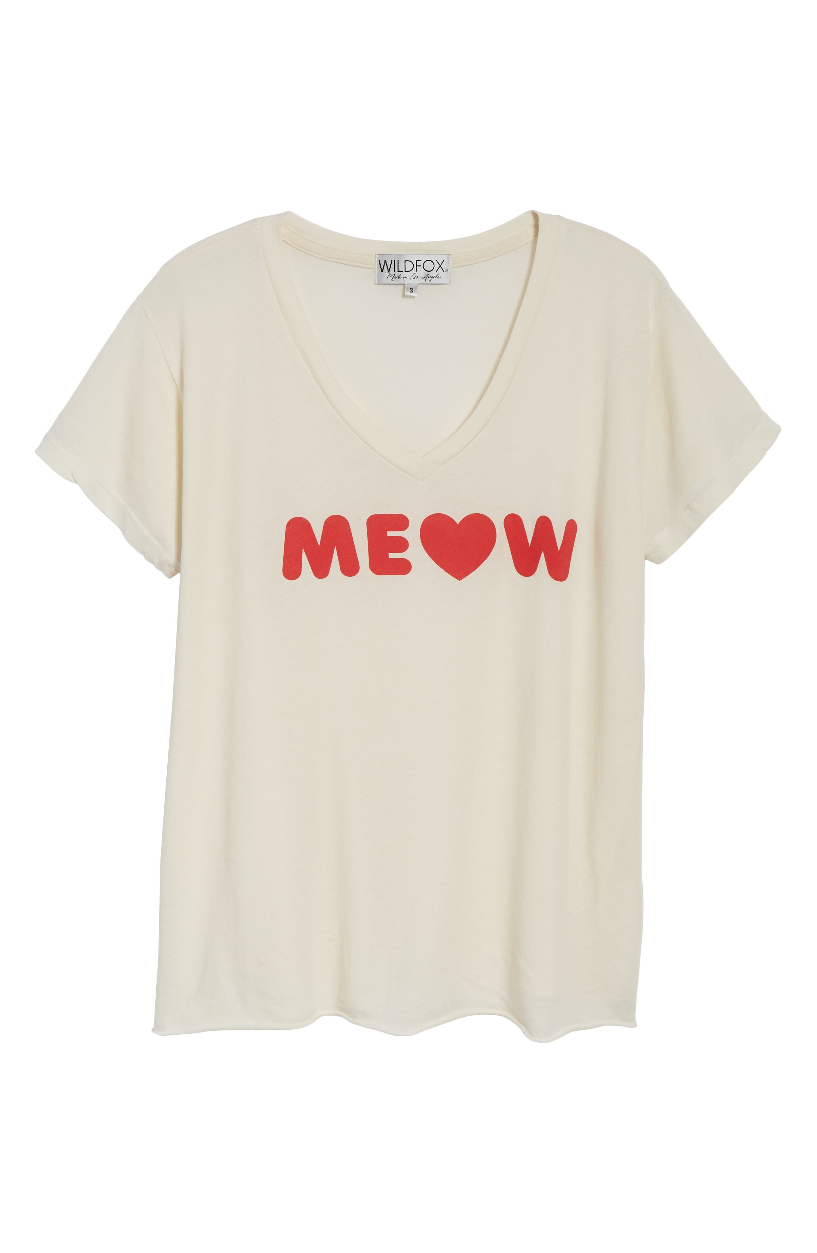 Romeo Meow V-Neck Tee,                             Alternate thumbnail 6, color,                             VINTAGE LA