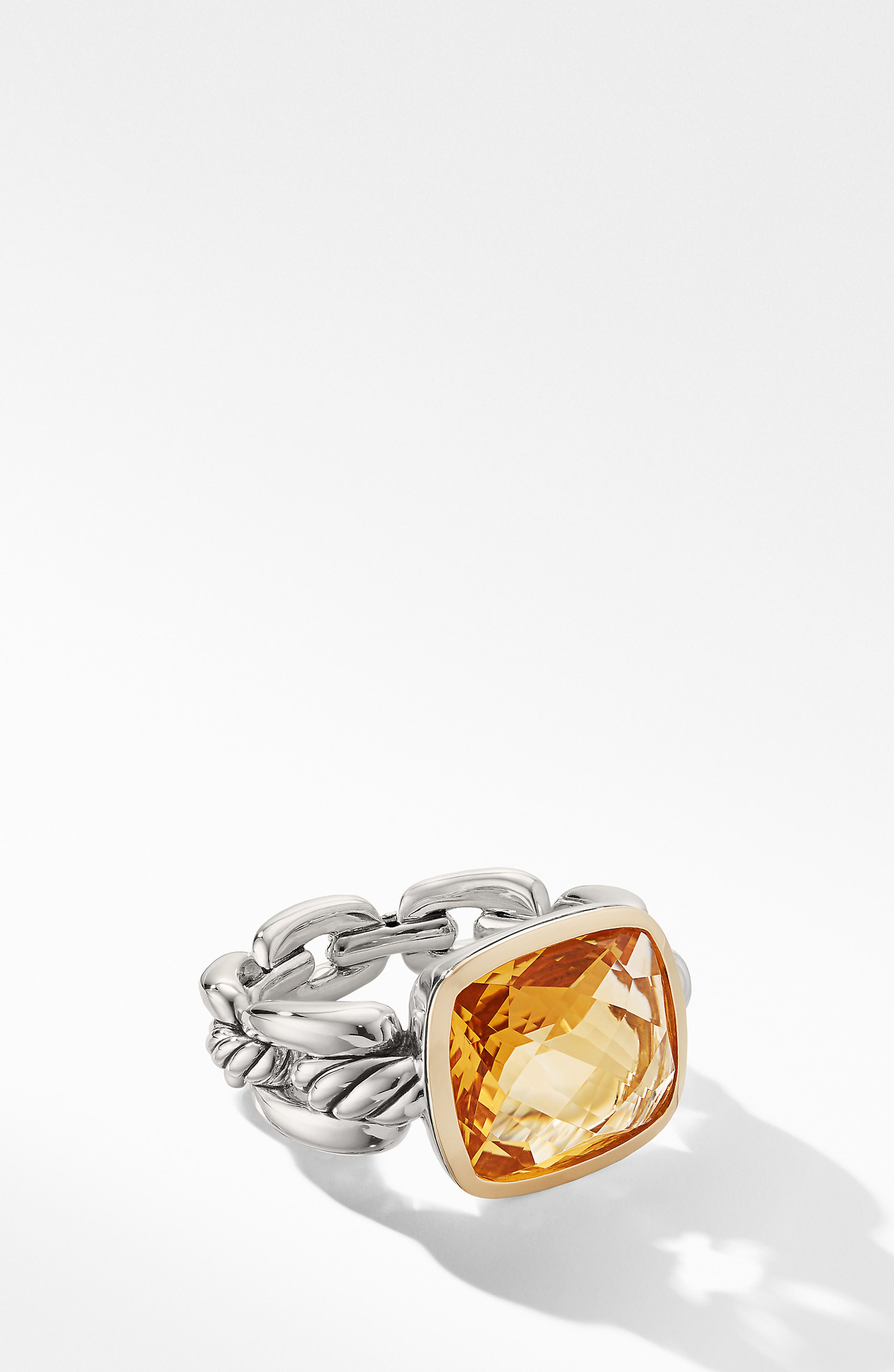 Wellesley Link Statement Ring with 18K Gold,                             Alternate thumbnail 2, color,                             SILVER/ CITRINE
