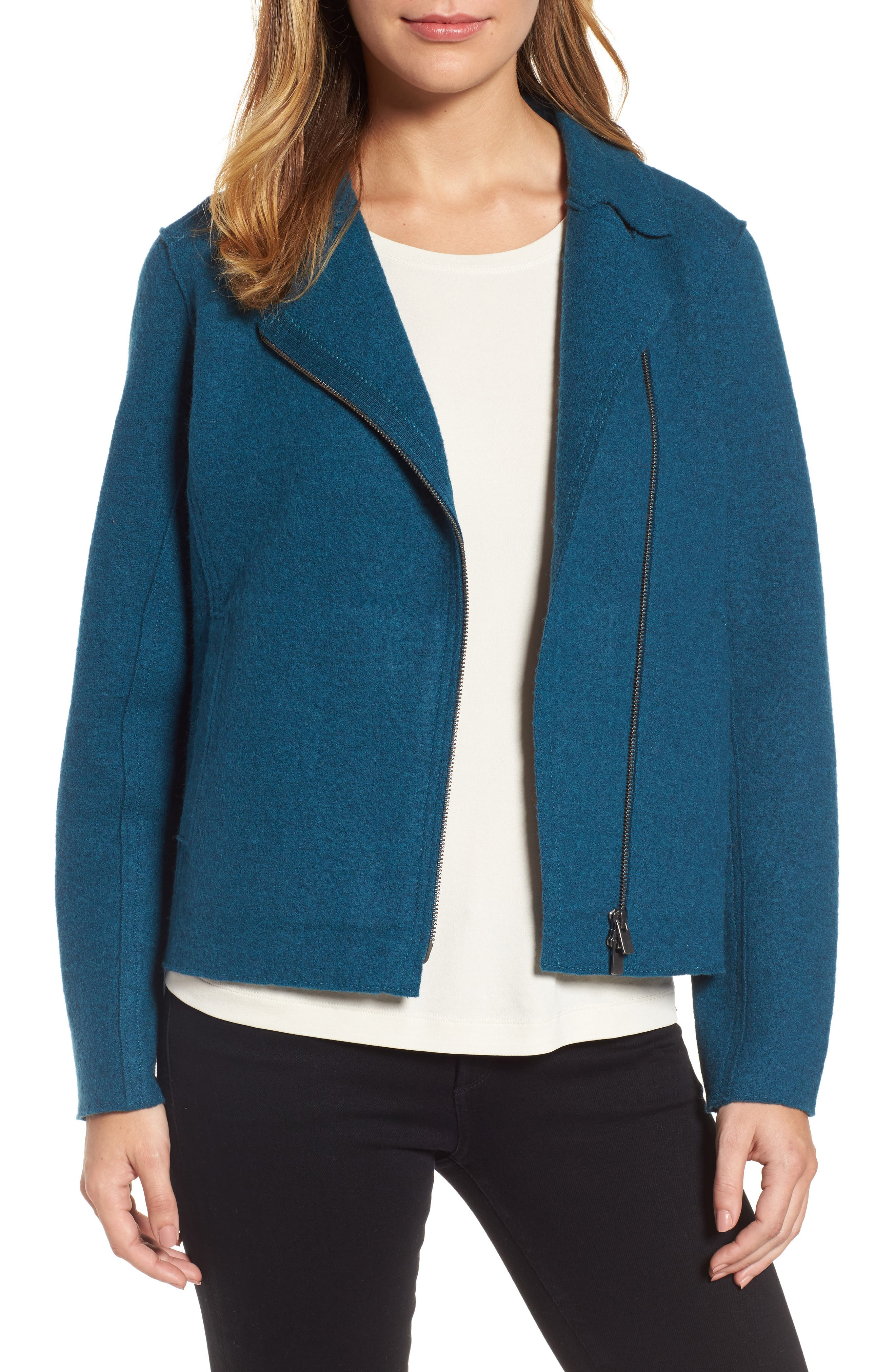 Boiled Wool Moto Jacket,                             Main thumbnail 3, color,