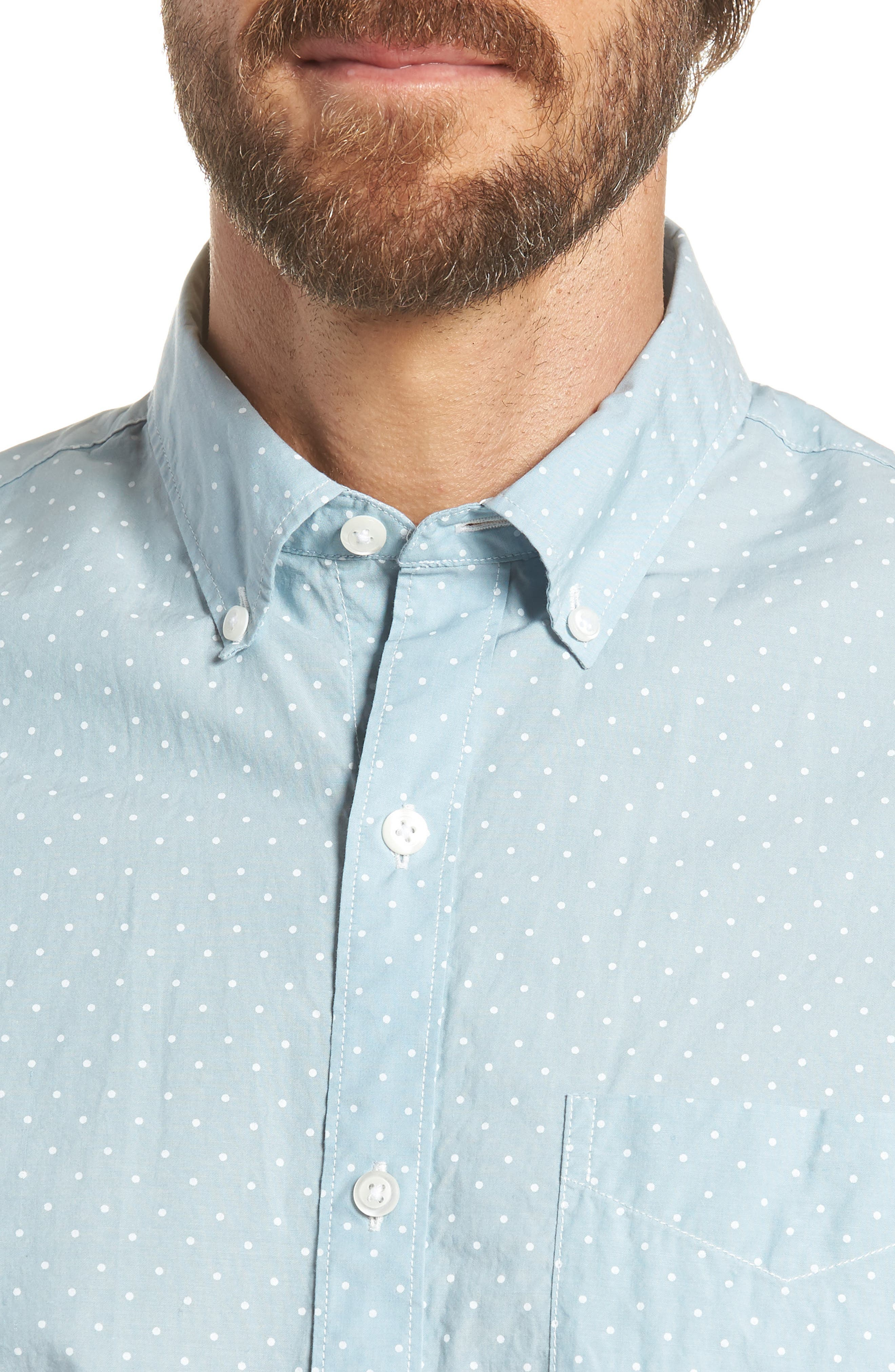 Summerweight Slim Fit Dot Sport Shirt,                             Alternate thumbnail 2, color,                             400