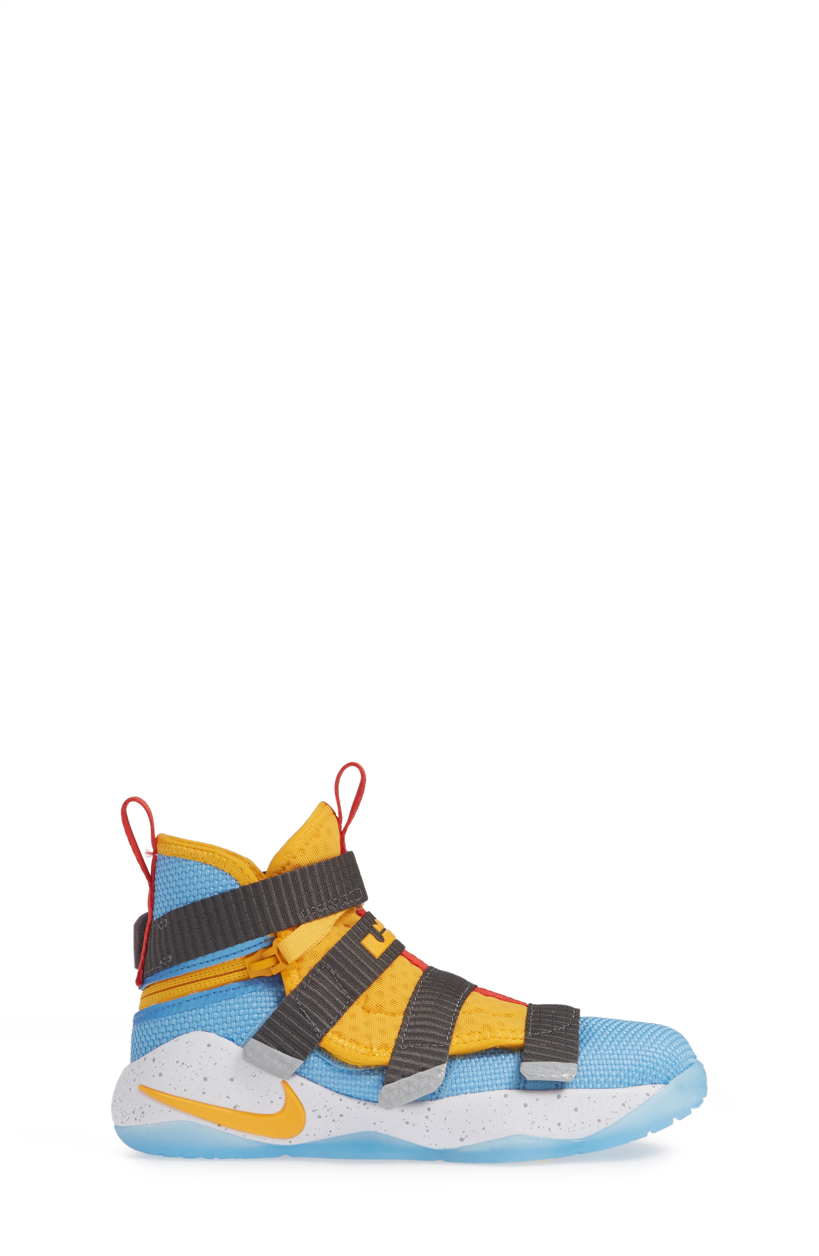 LeBron Soldier XI FlyEase High Top Sneaker,                             Alternate thumbnail 3, color,                             UNIVERSITY GOLD/ WHITE-RED
