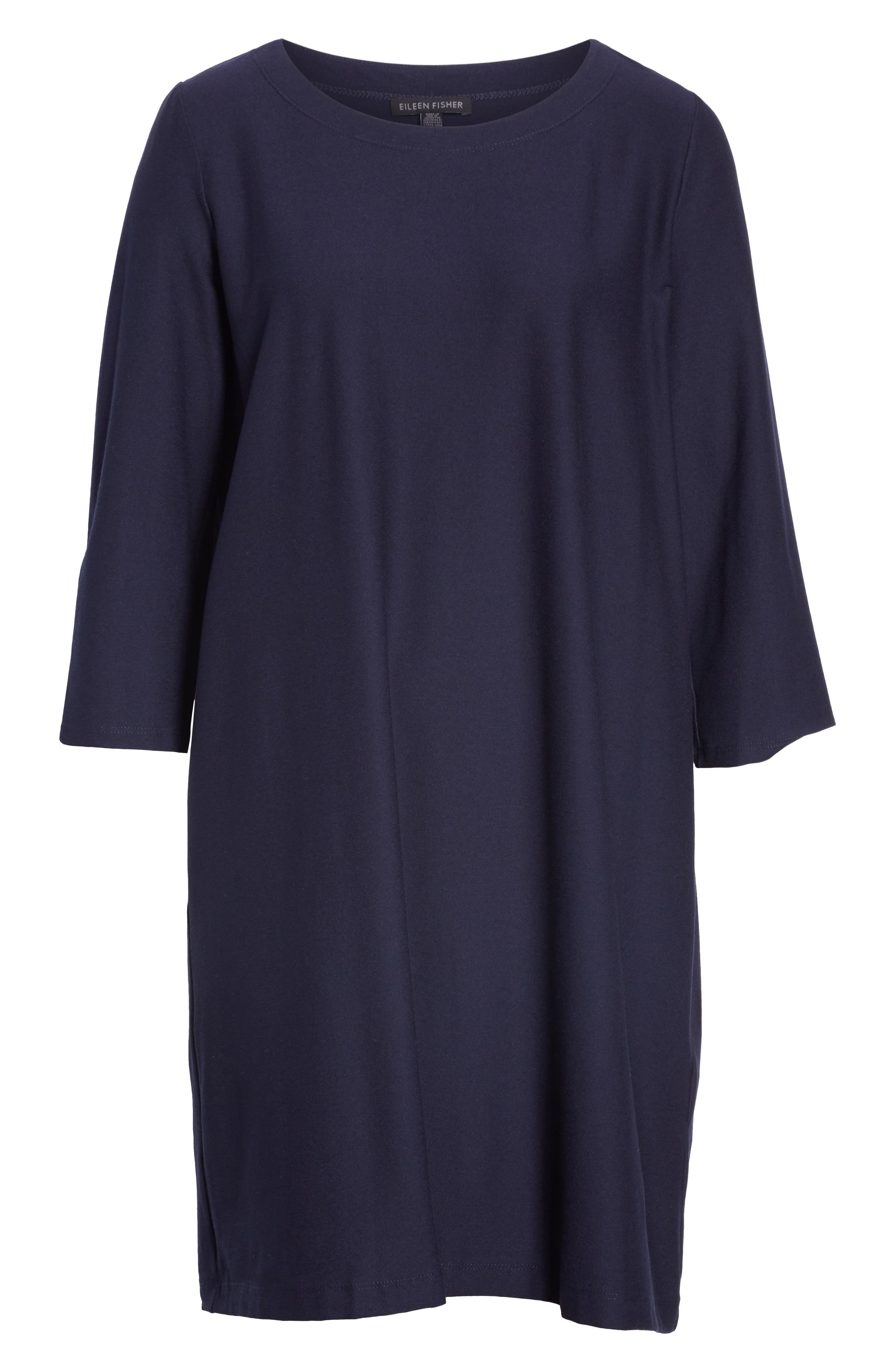 Scoop Neck Knee Length Shift Dress,                             Alternate thumbnail 6, color,                             MIDNIGHT