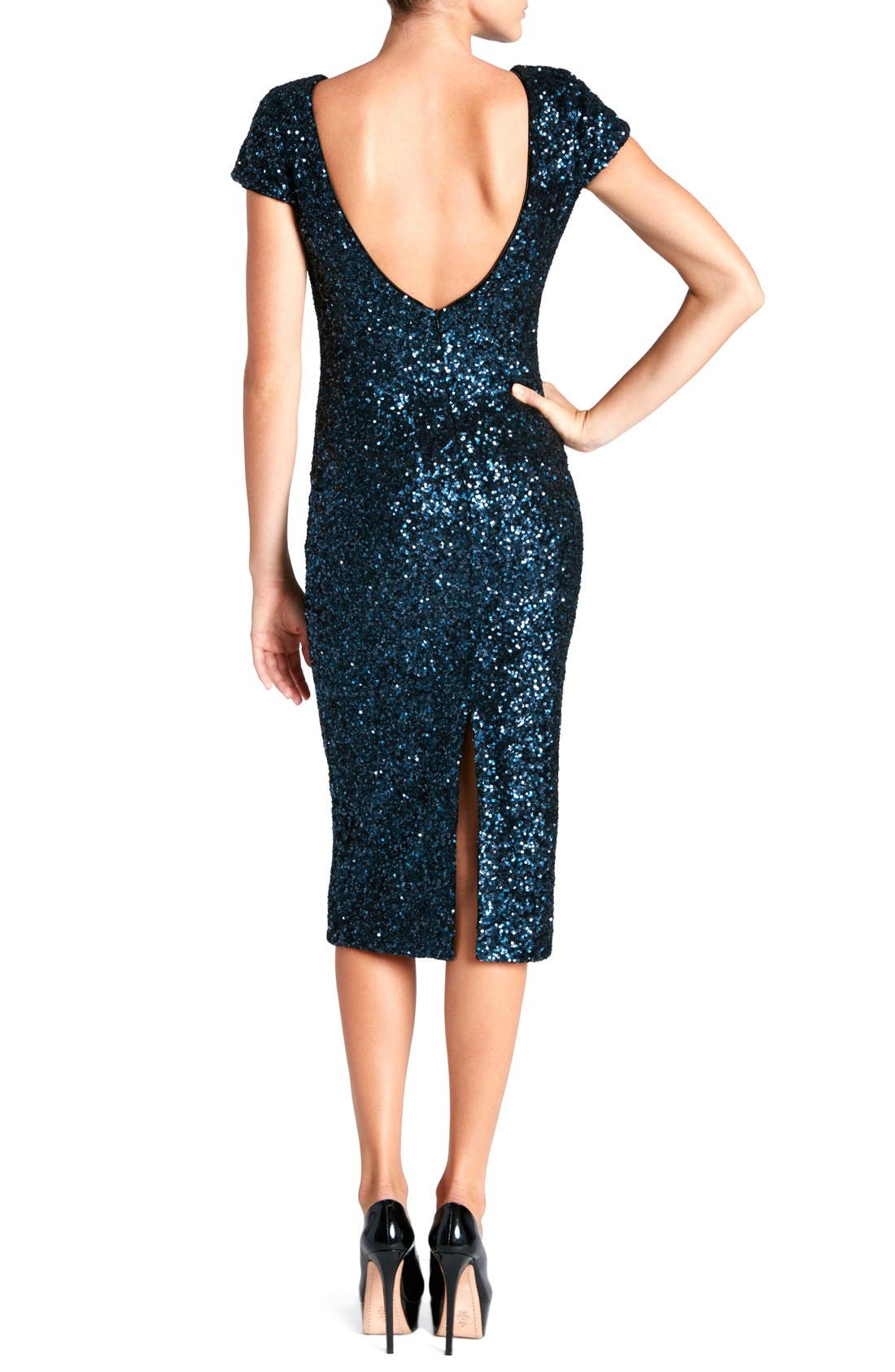 'Marcella' Open Back Sequin Body-Con Dress,                             Alternate thumbnail 7, color,