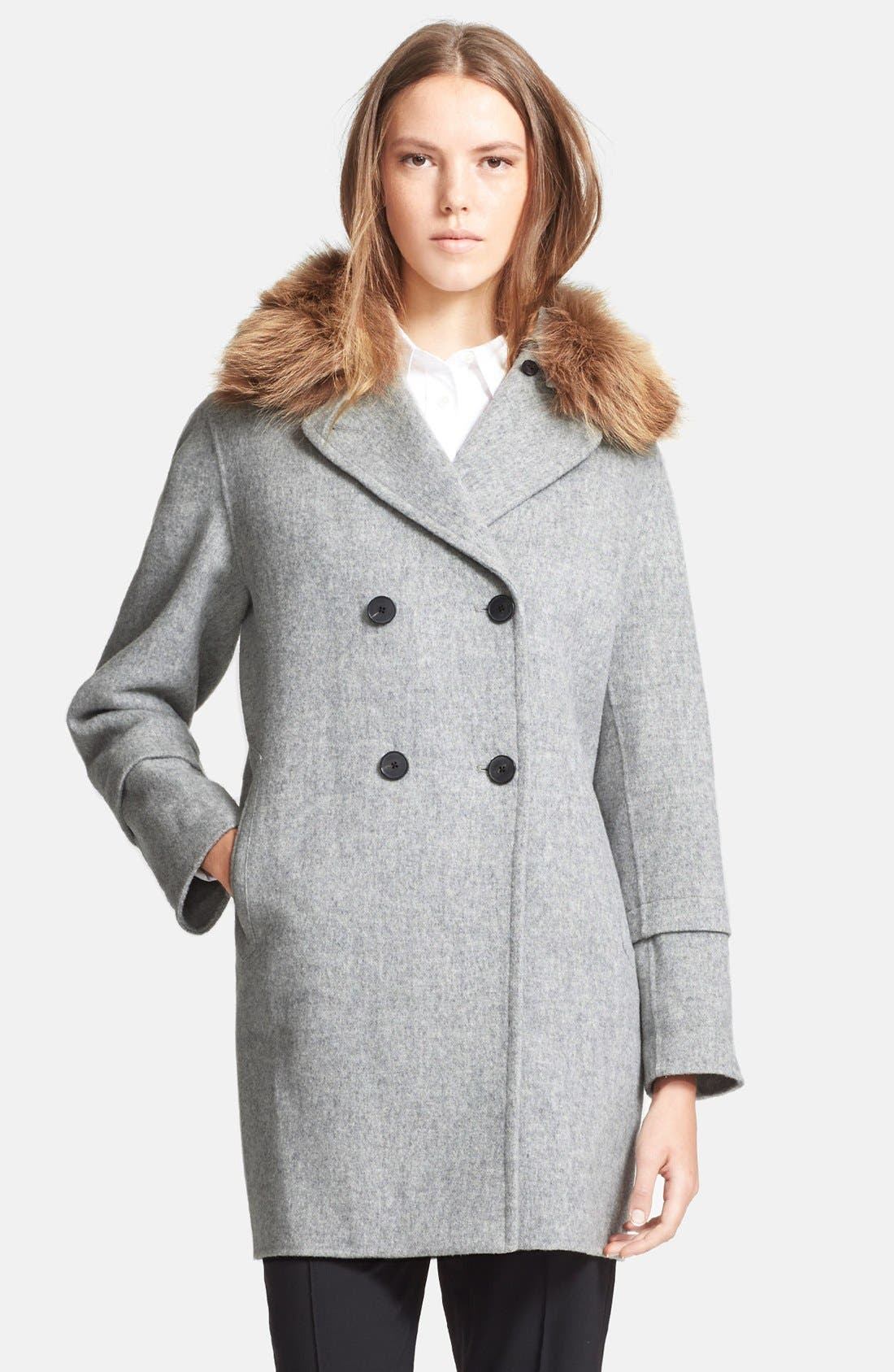 Peacoat with Removable Genuine Coyote Fur Collar,                         Main,                         color, 020