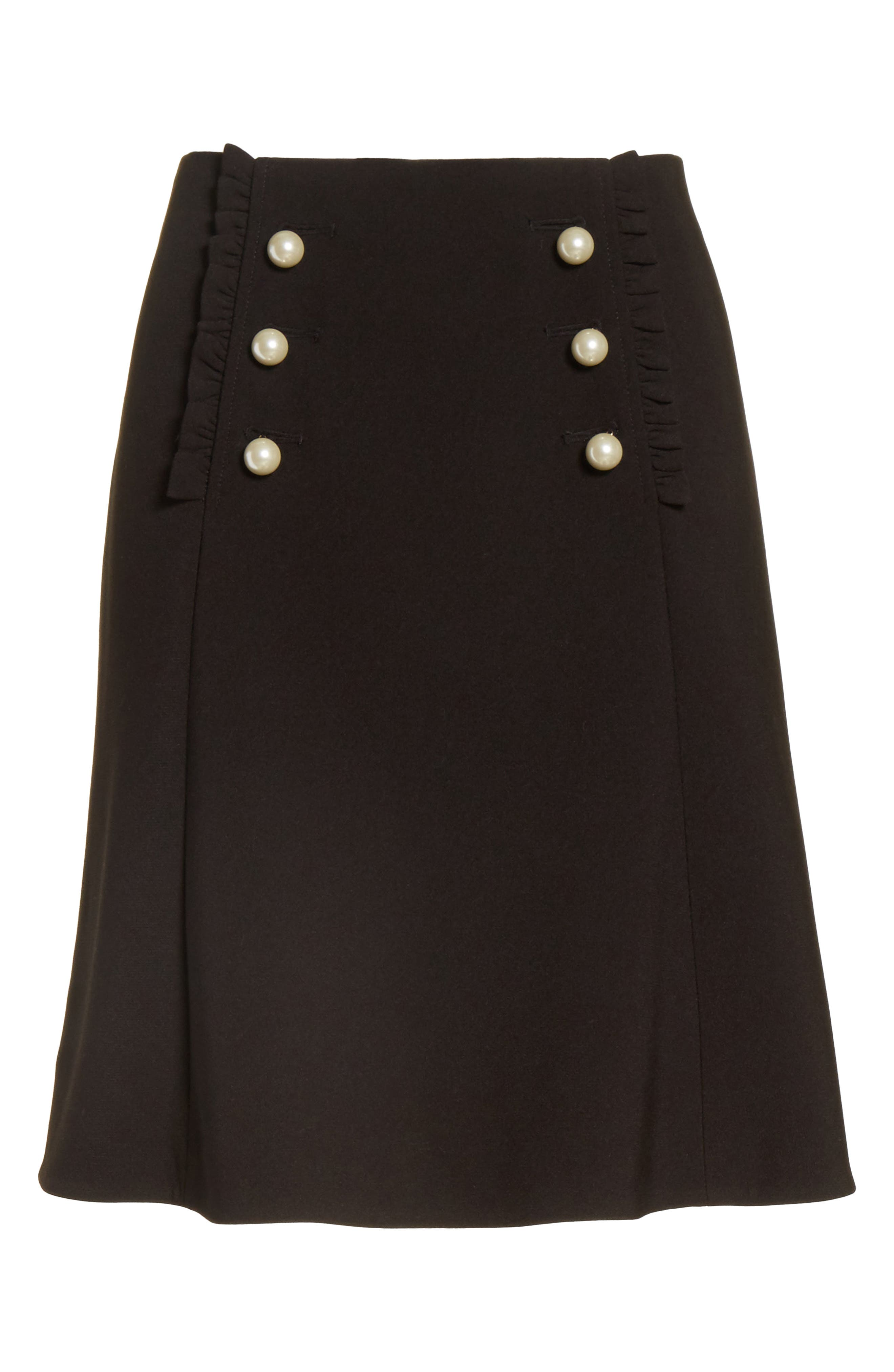 pearly button crepe skirt,                             Alternate thumbnail 6, color,                             001
