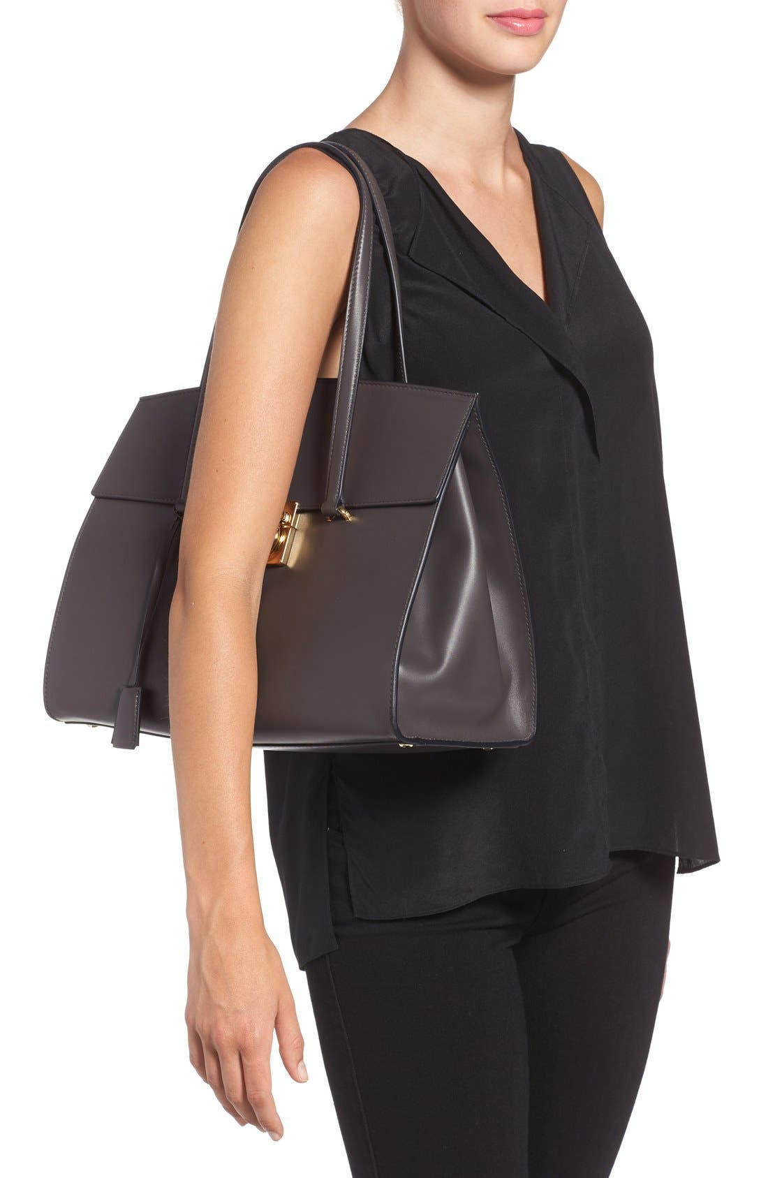 Large Smooth Leather Satchel,                             Alternate thumbnail 4, color,