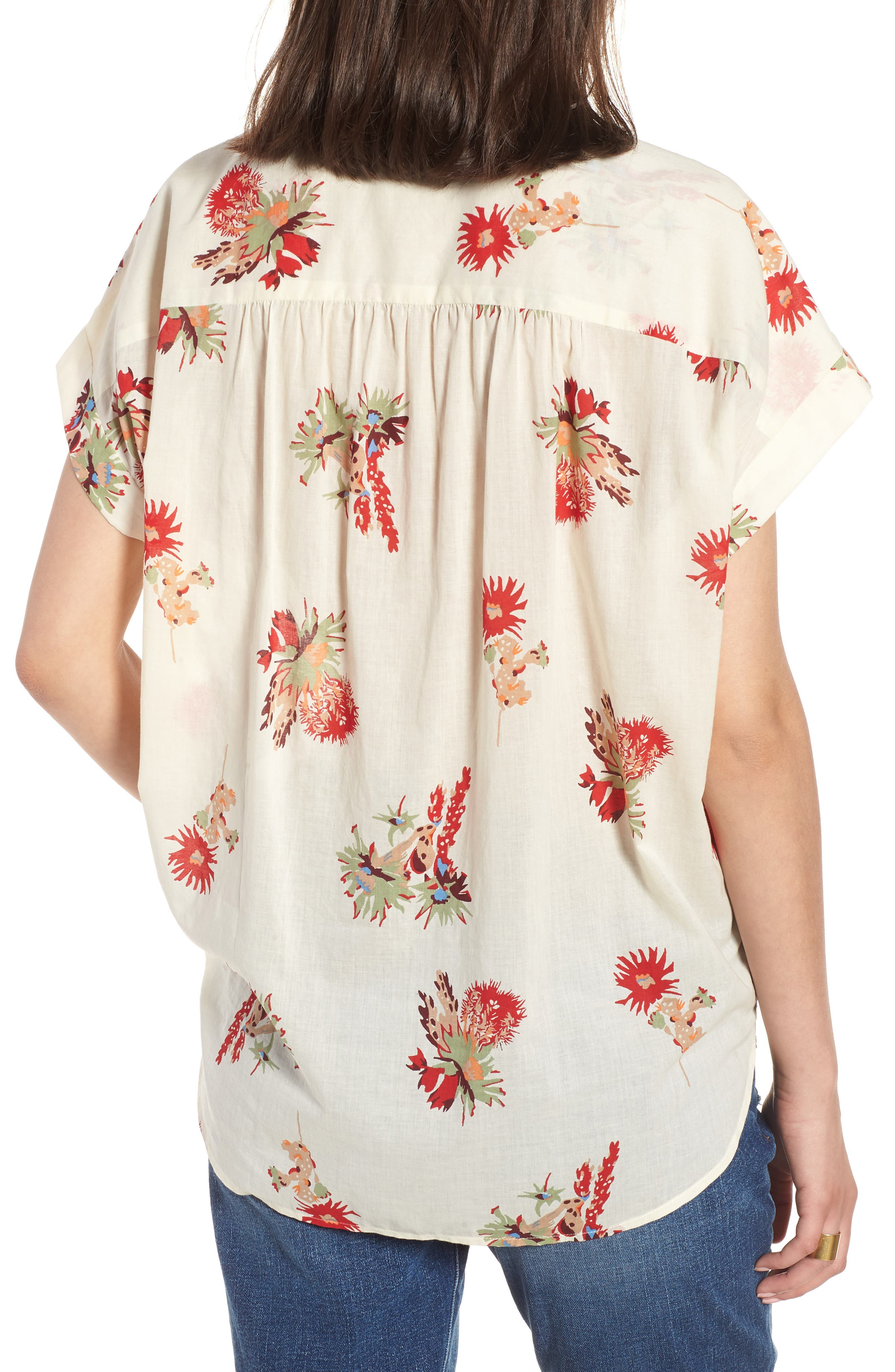 Central Cactus Floral Shirt,                             Alternate thumbnail 2, color,                             100