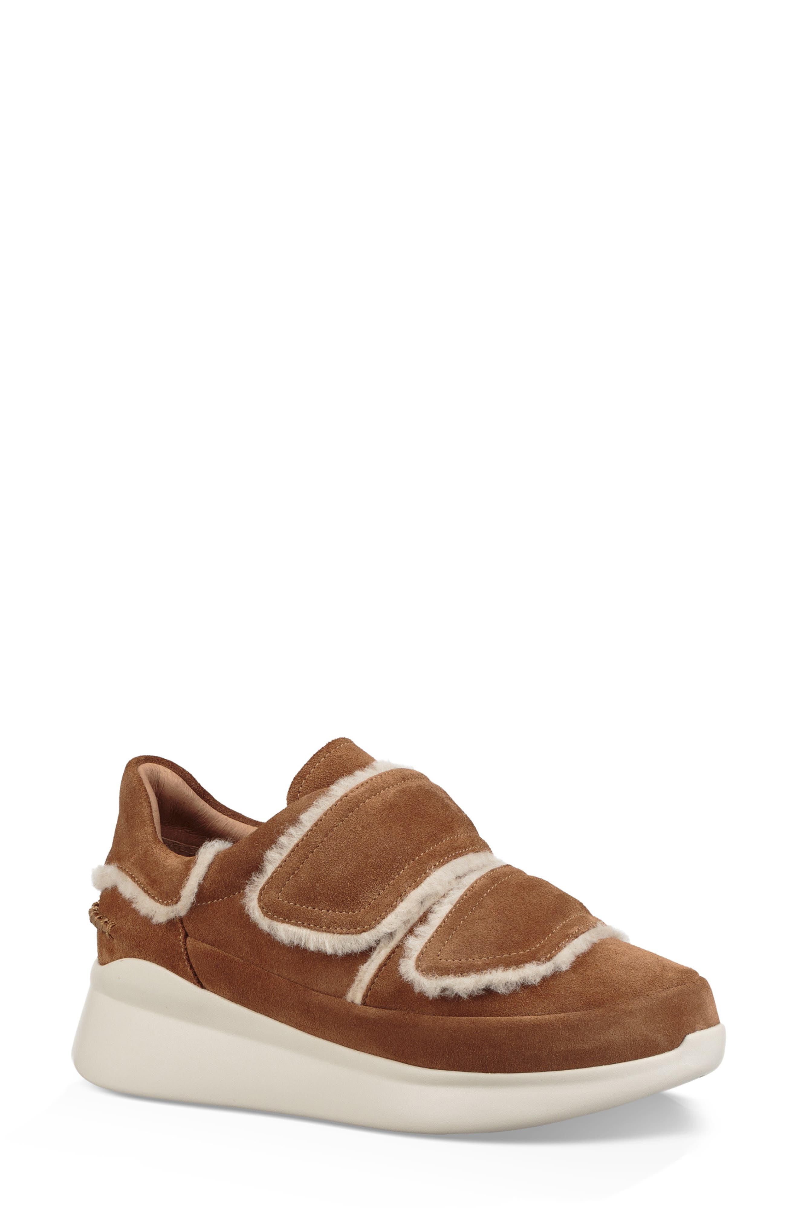 Women'S Ashby Round Toe Fur & Suede Sneaker in Chestnut Leather