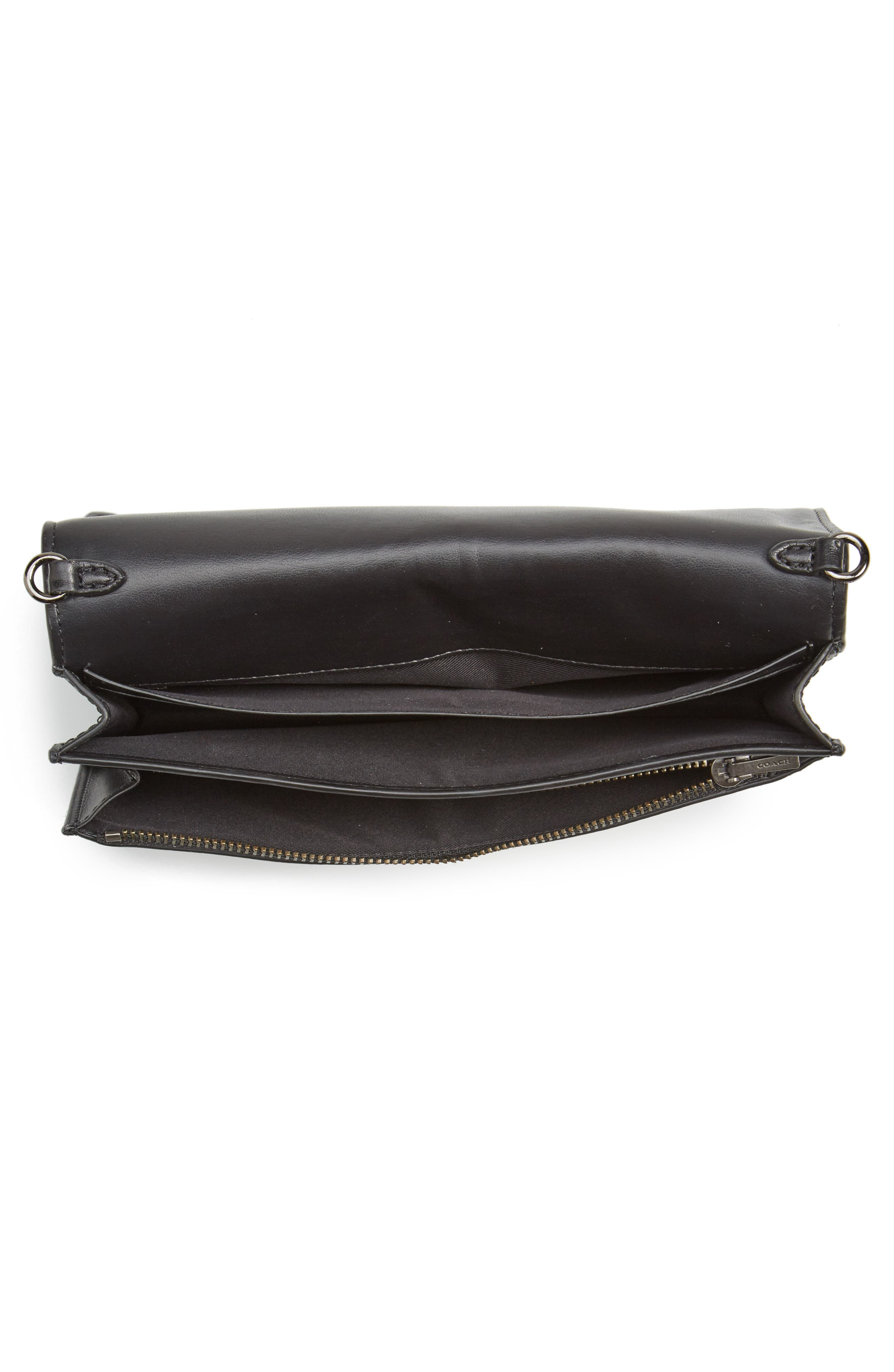 Calfskin Leather Foldover Convertible Clutch,                             Alternate thumbnail 4, color,                             009