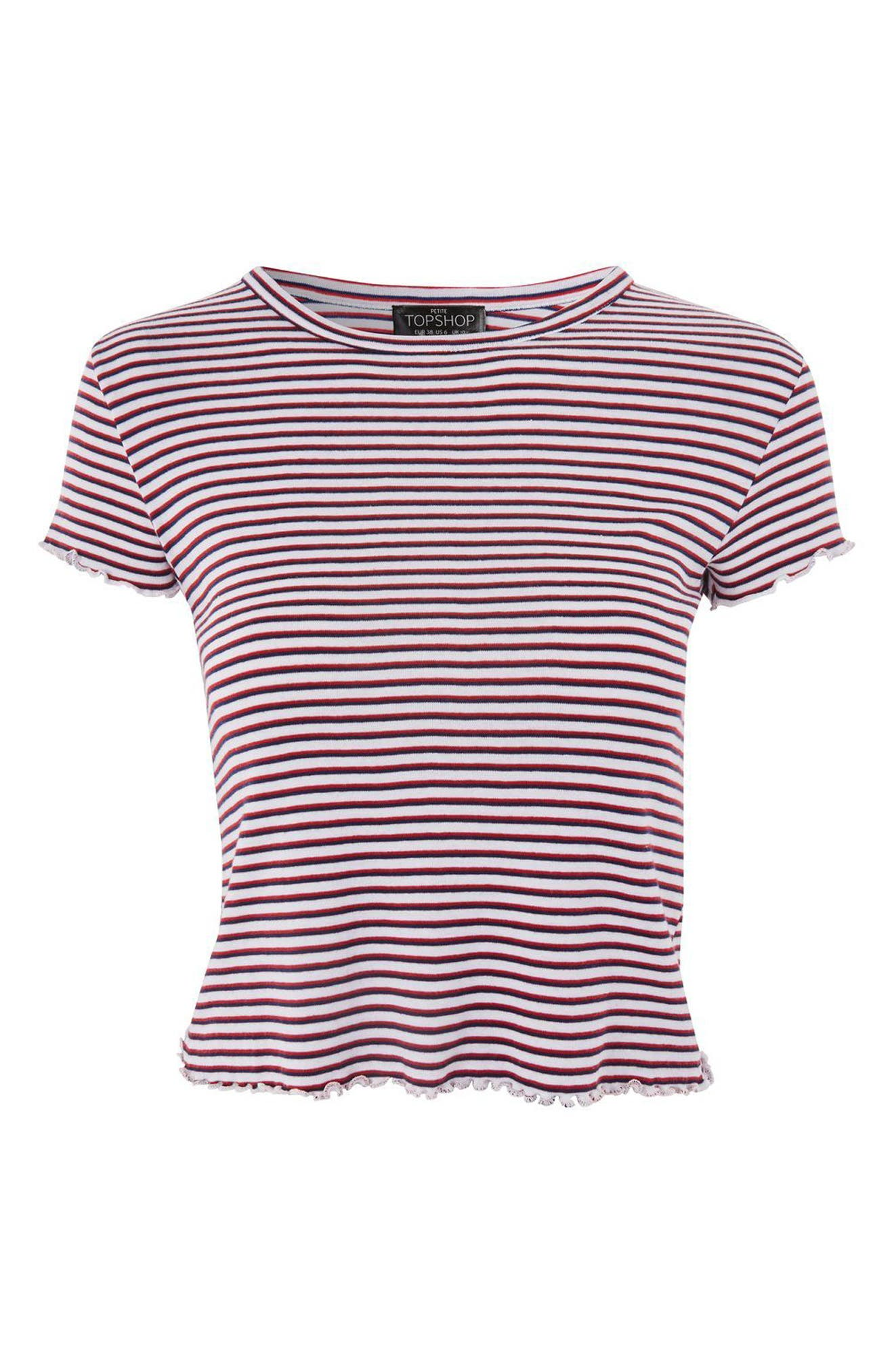 Stripe Lettuce Edge Tee,                             Alternate thumbnail 3, color,