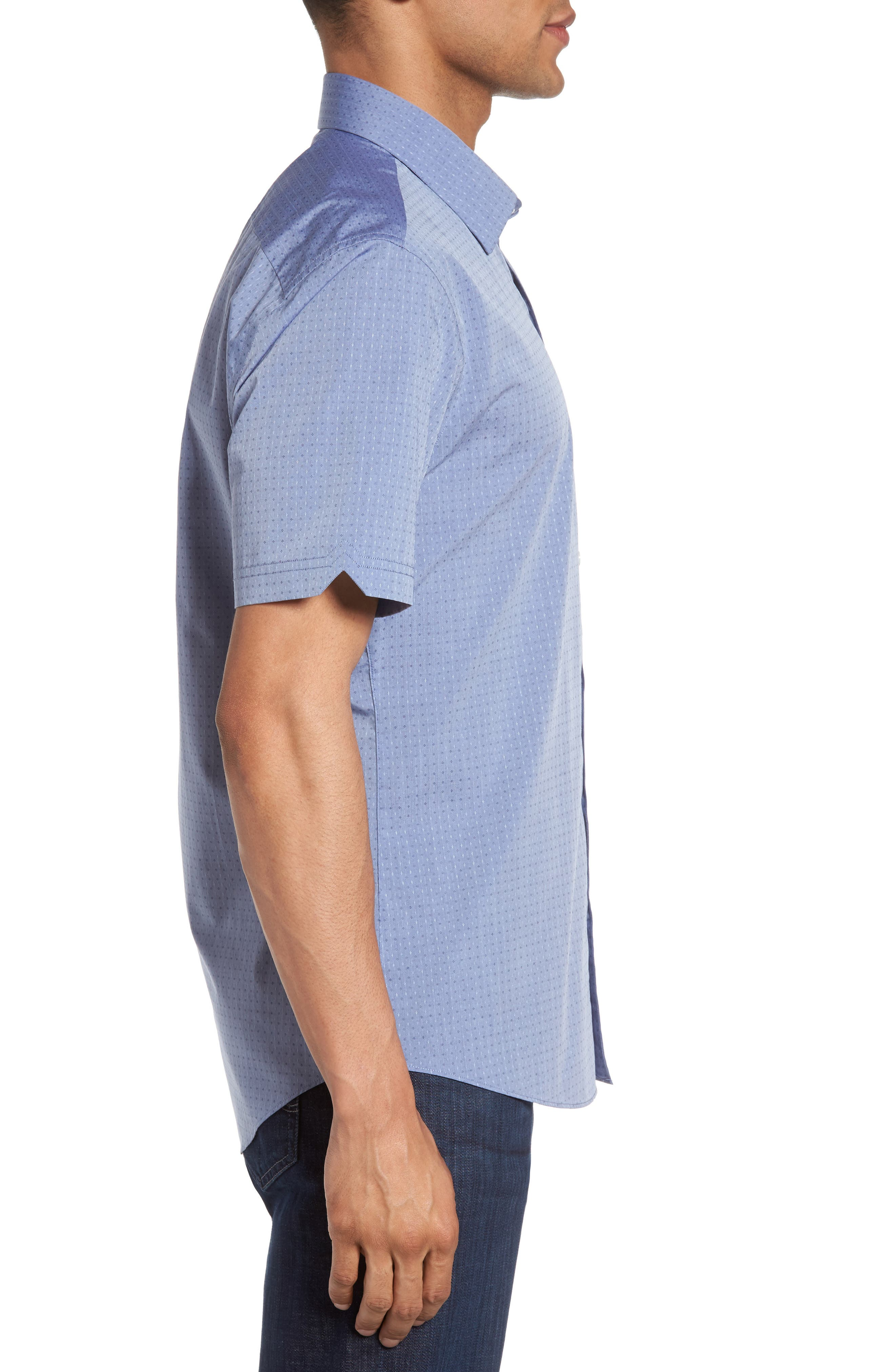 Diamond Print Short Sleeve Sport Shirt,                             Alternate thumbnail 3, color,                             400
