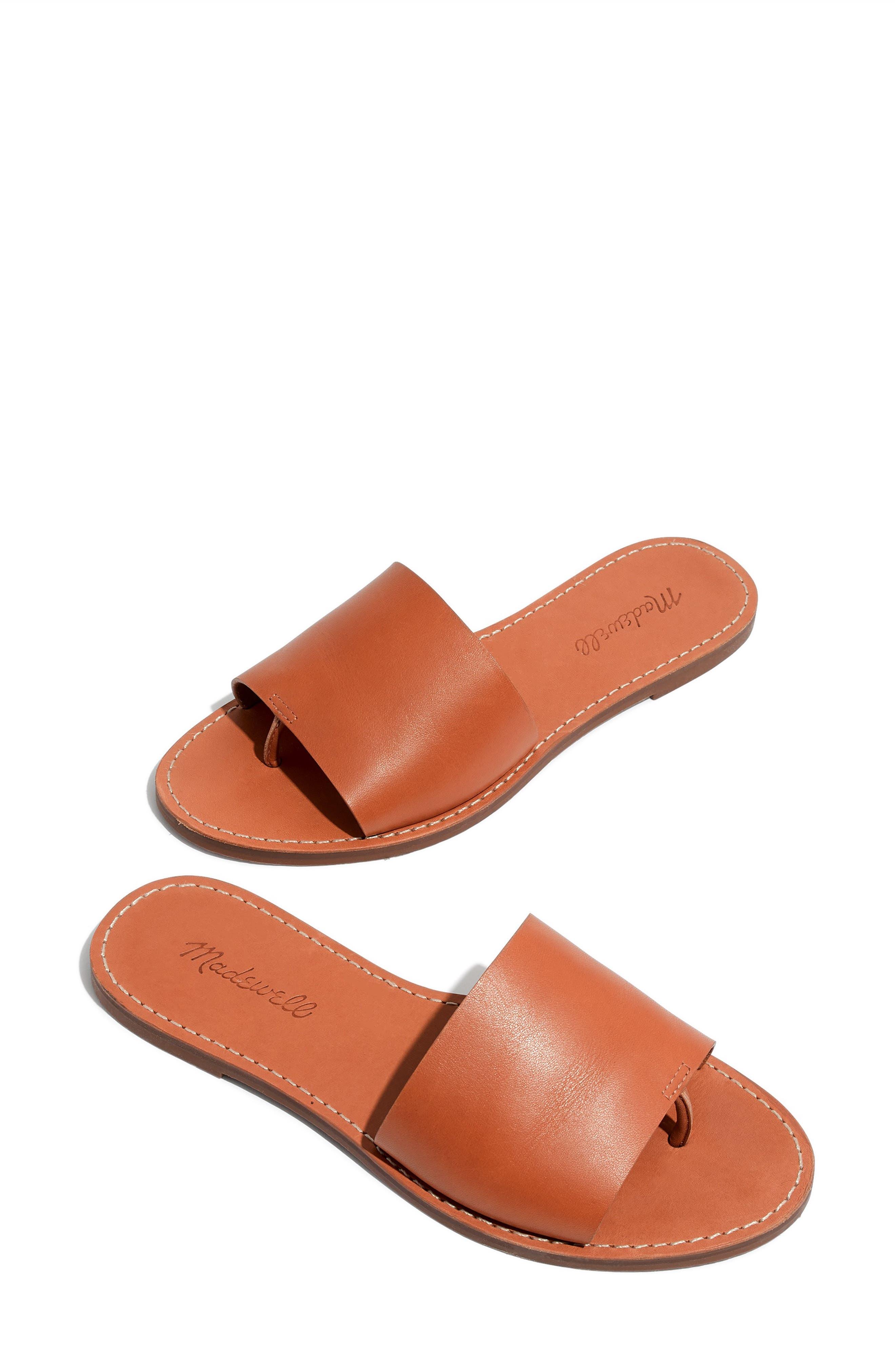 Boardwalk Post Slide Sandal,                         Main,                         color, DESERT CAMEL LEATHER