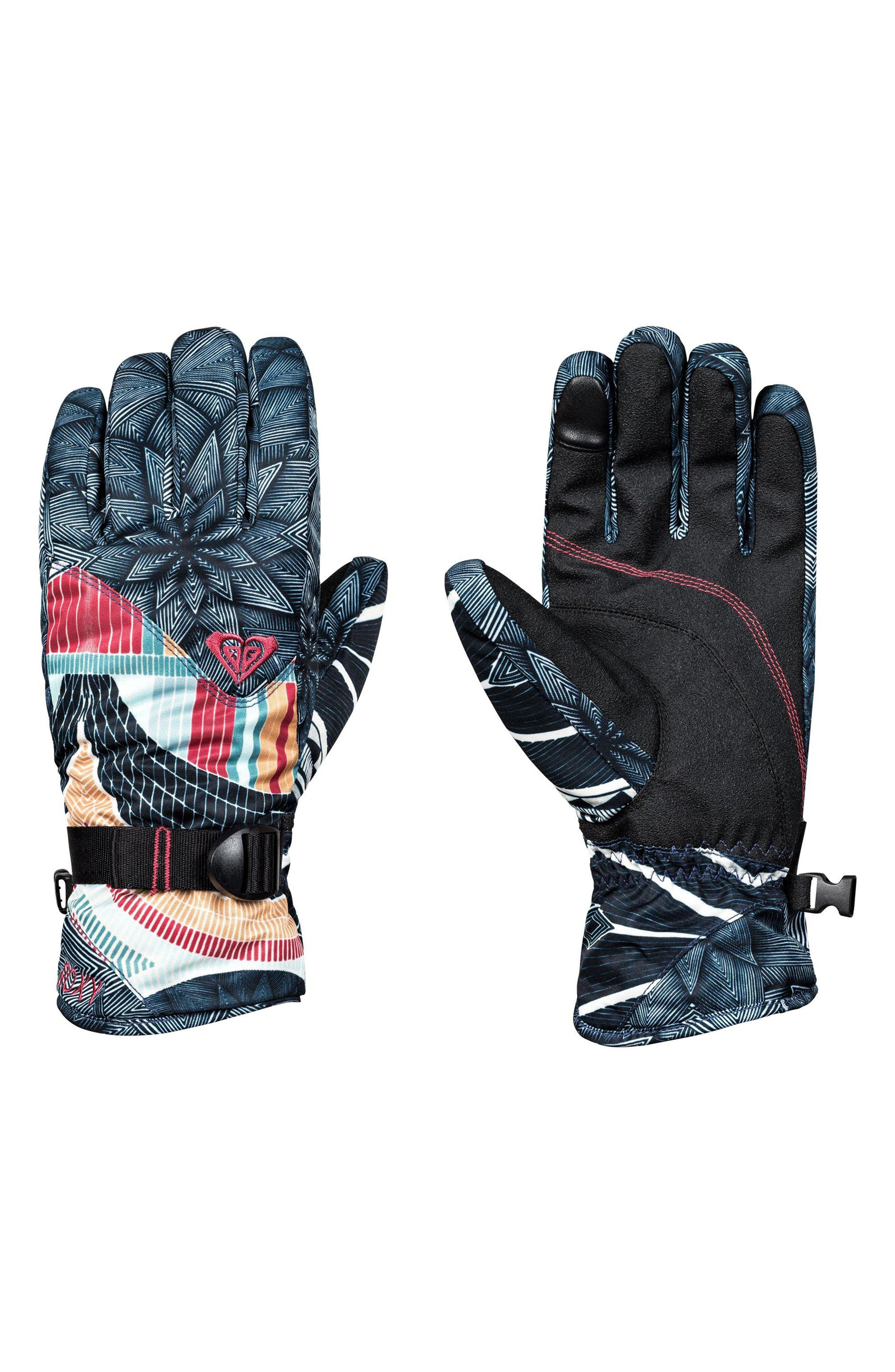 Jetty Print Snow Sport Gloves,                             Main thumbnail 1, color,                             002
