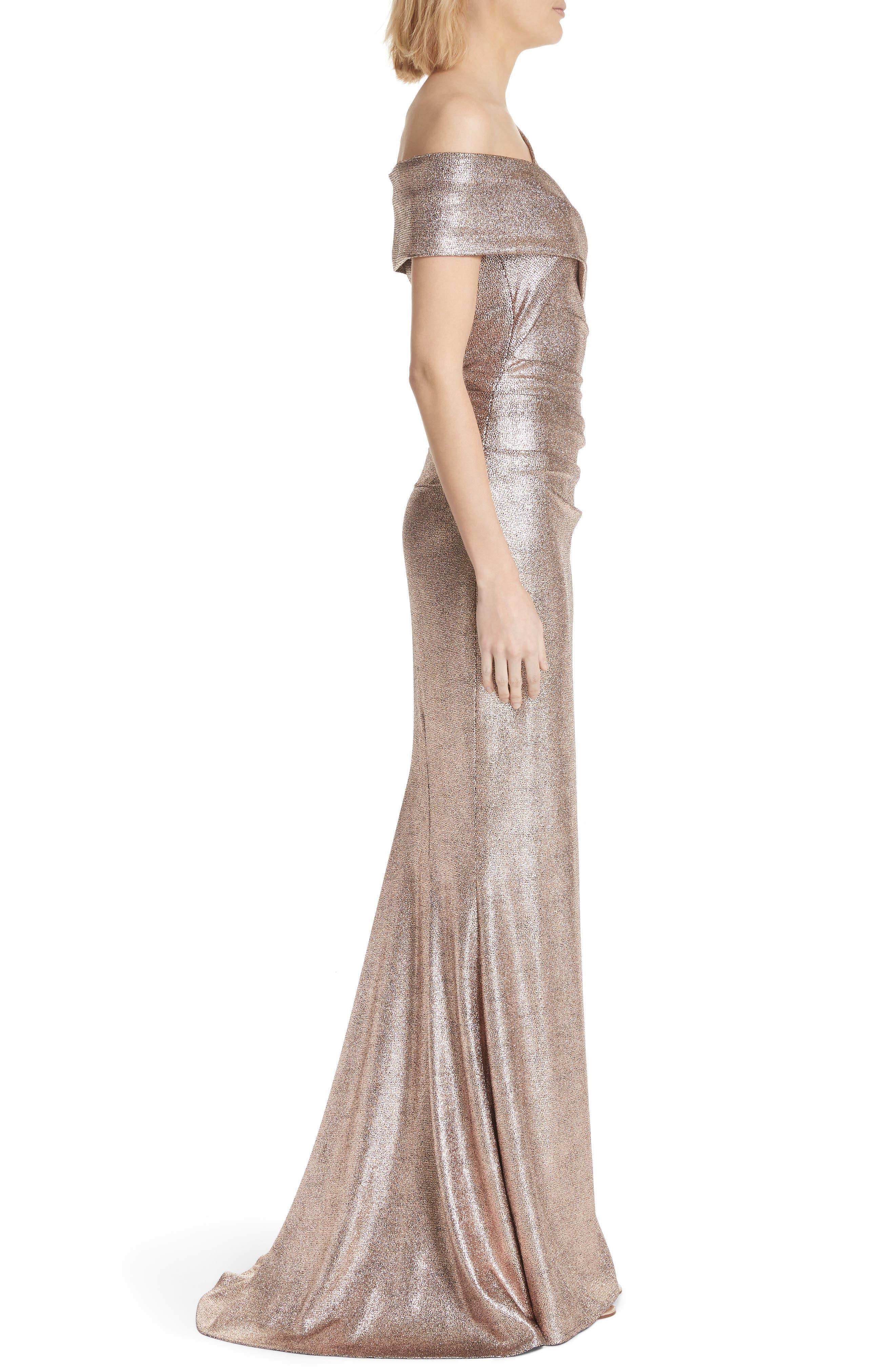 Copper Foil Scuba Jersey Trumpet Gown,                             Alternate thumbnail 3, color,                             220