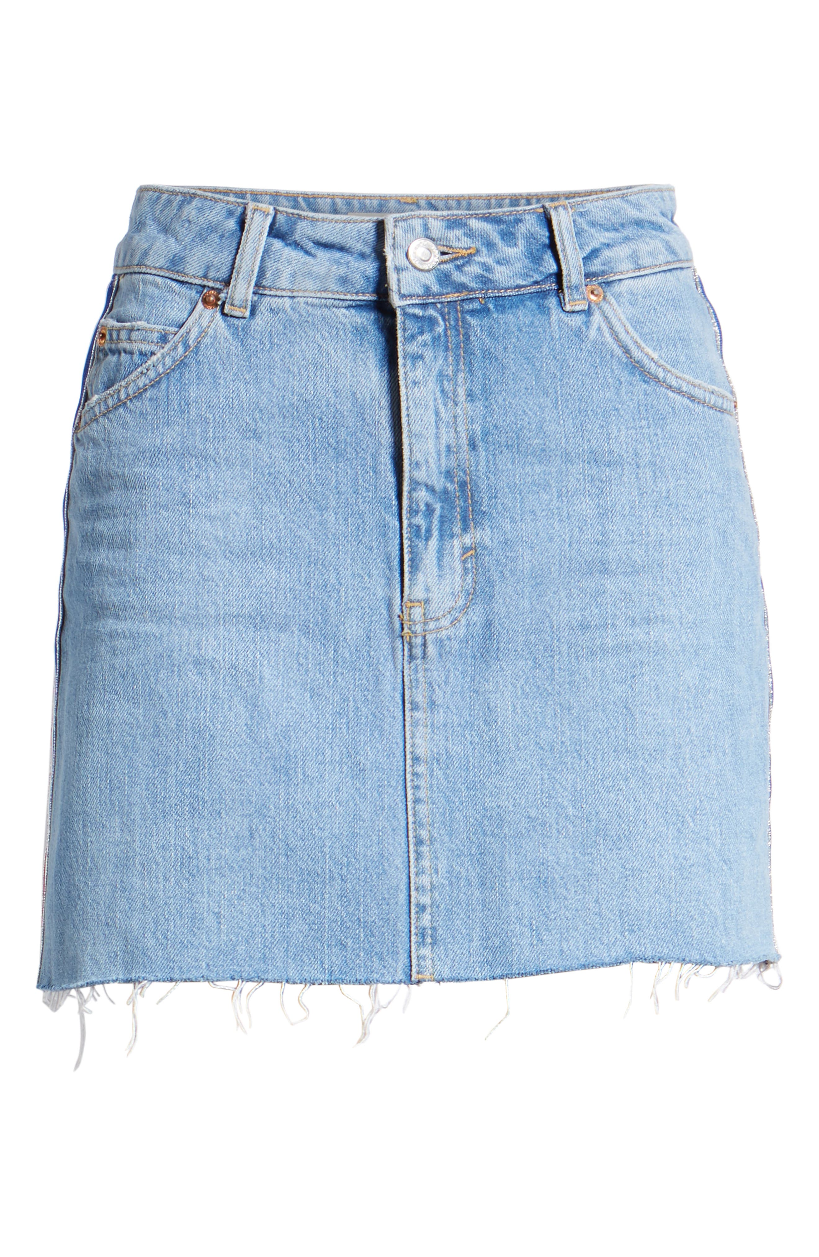MOTO Stripe Denim Skirt,                             Alternate thumbnail 7, color,                             450