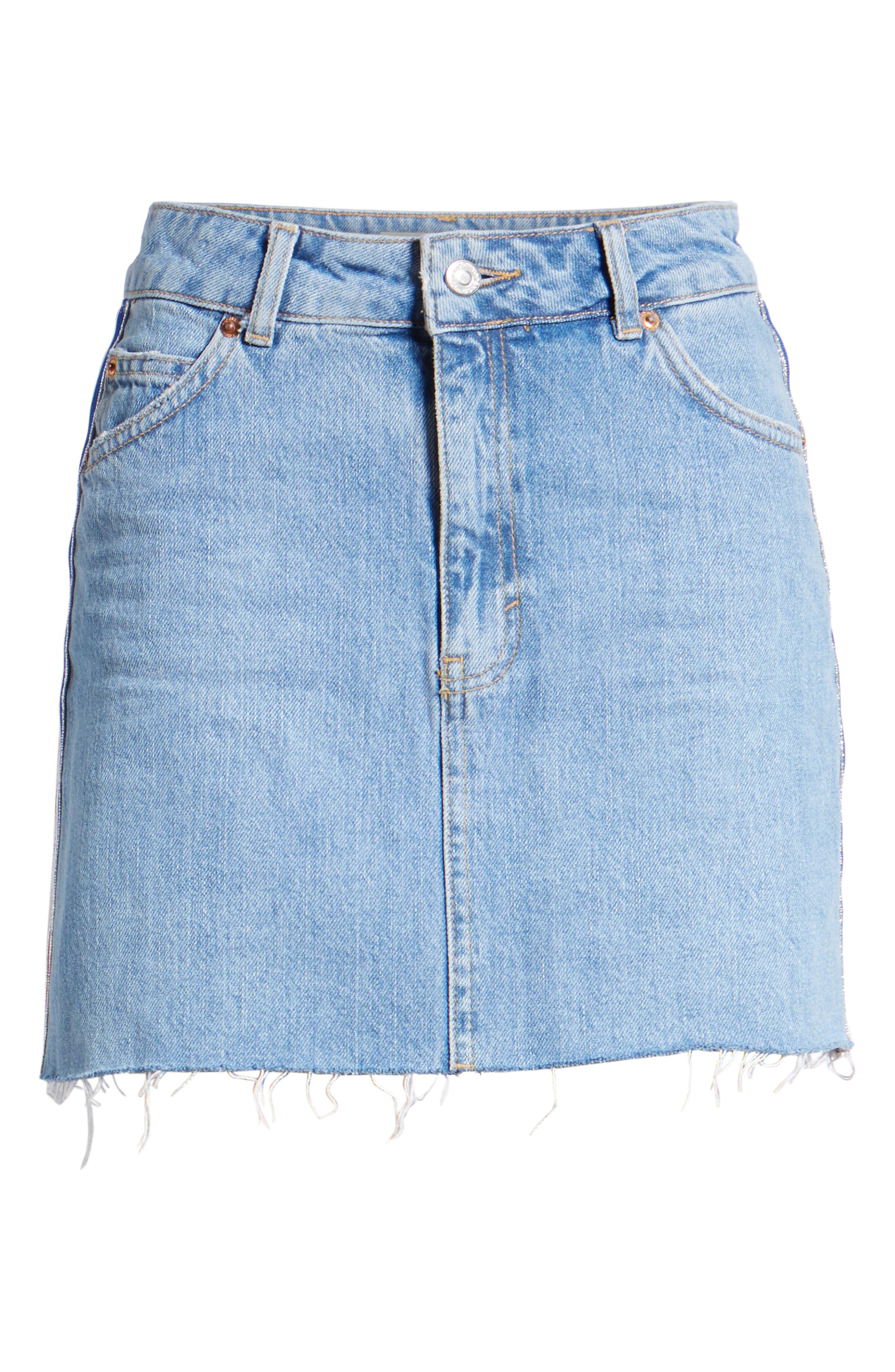 MOTO Stripe Denim Skirt,                             Alternate thumbnail 7, color,