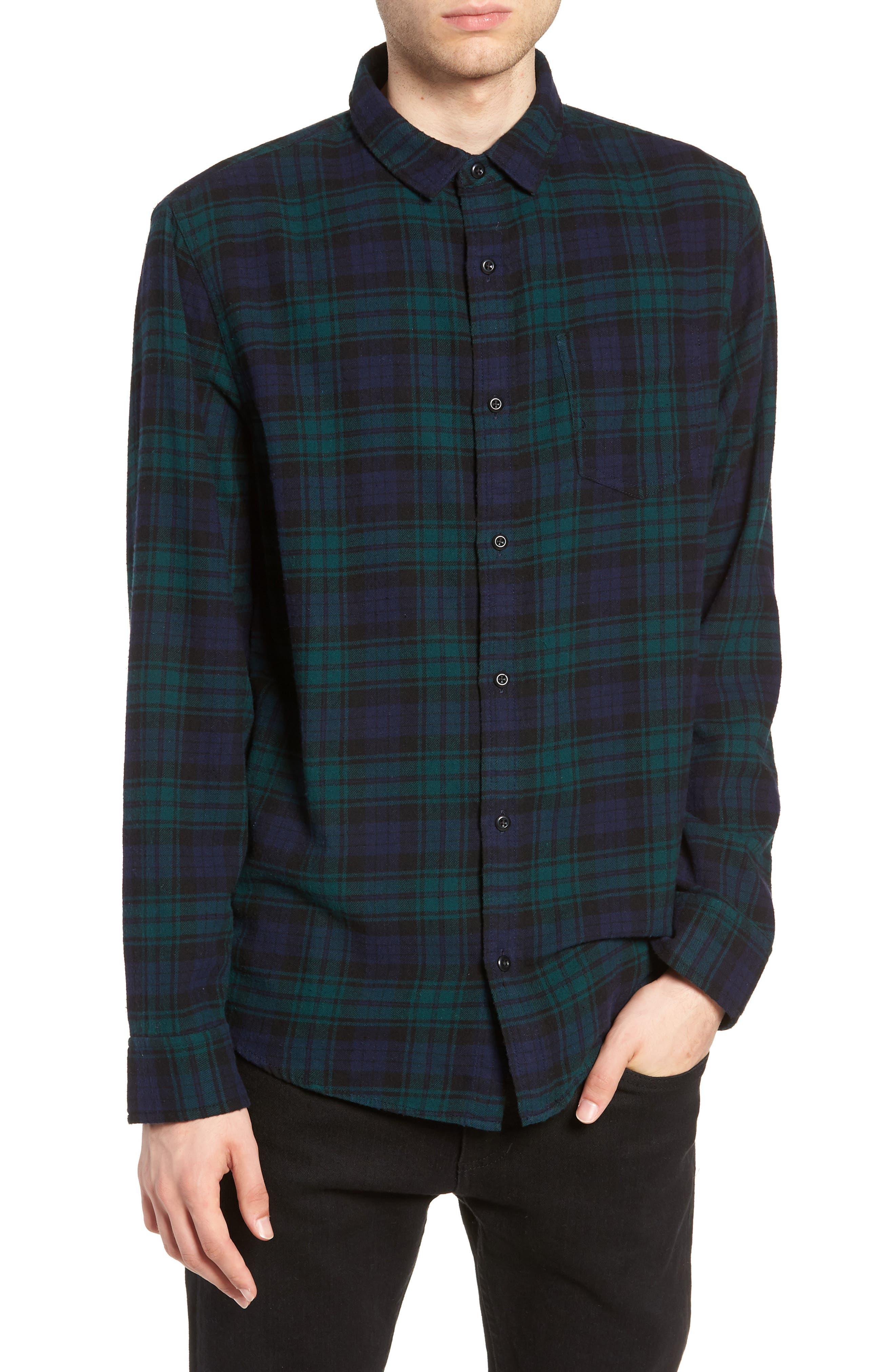 Flannel Shirt,                             Main thumbnail 1, color,                             BLUE GREEN CLASSIC PLAID