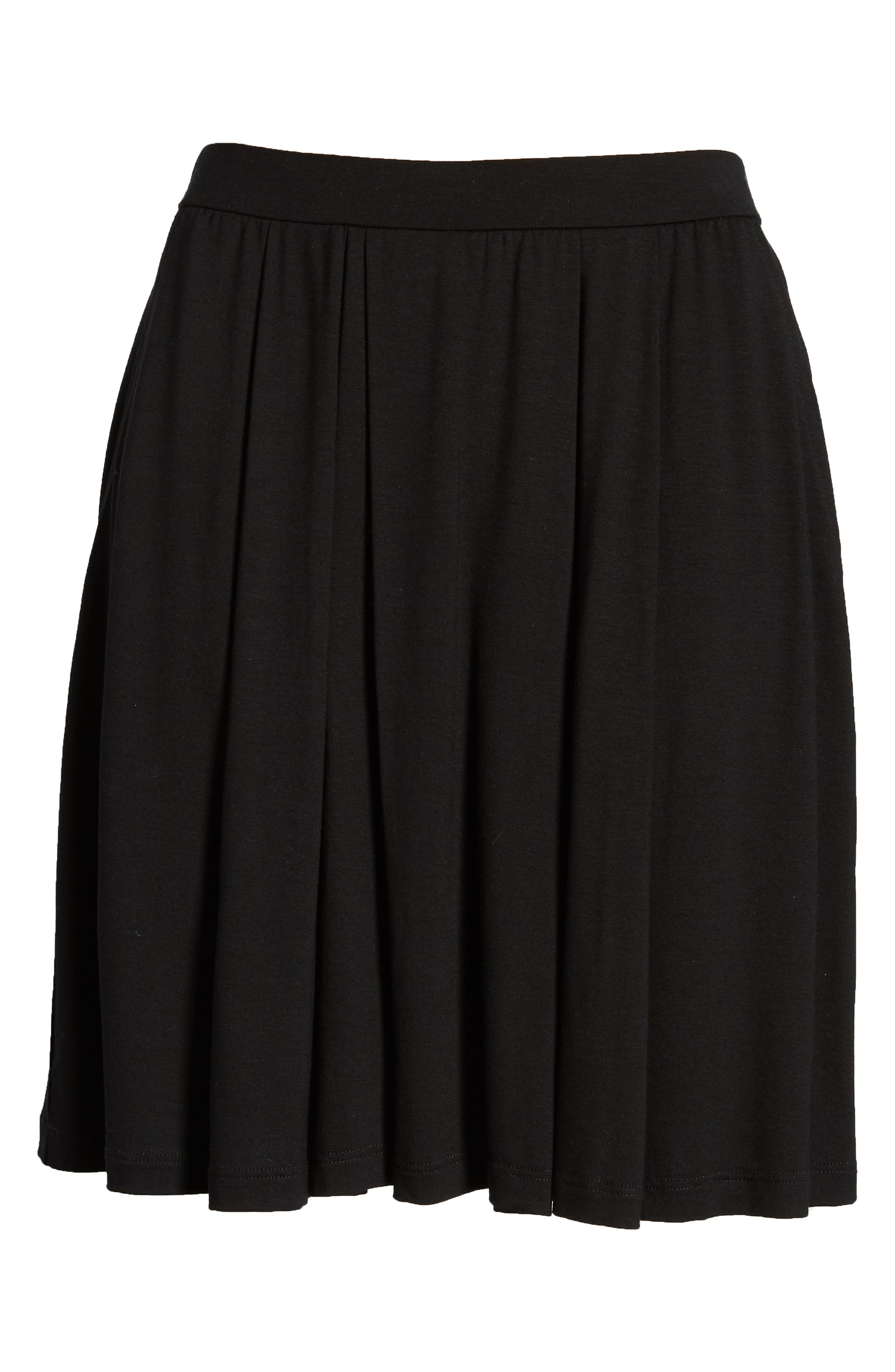 Pleated Jersey Walking Shorts,                             Alternate thumbnail 6, color,                             001