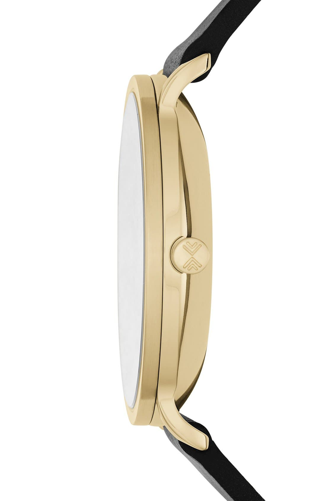 Hagen Leather Strap Watch, 40mm,                             Alternate thumbnail 2, color,                             001